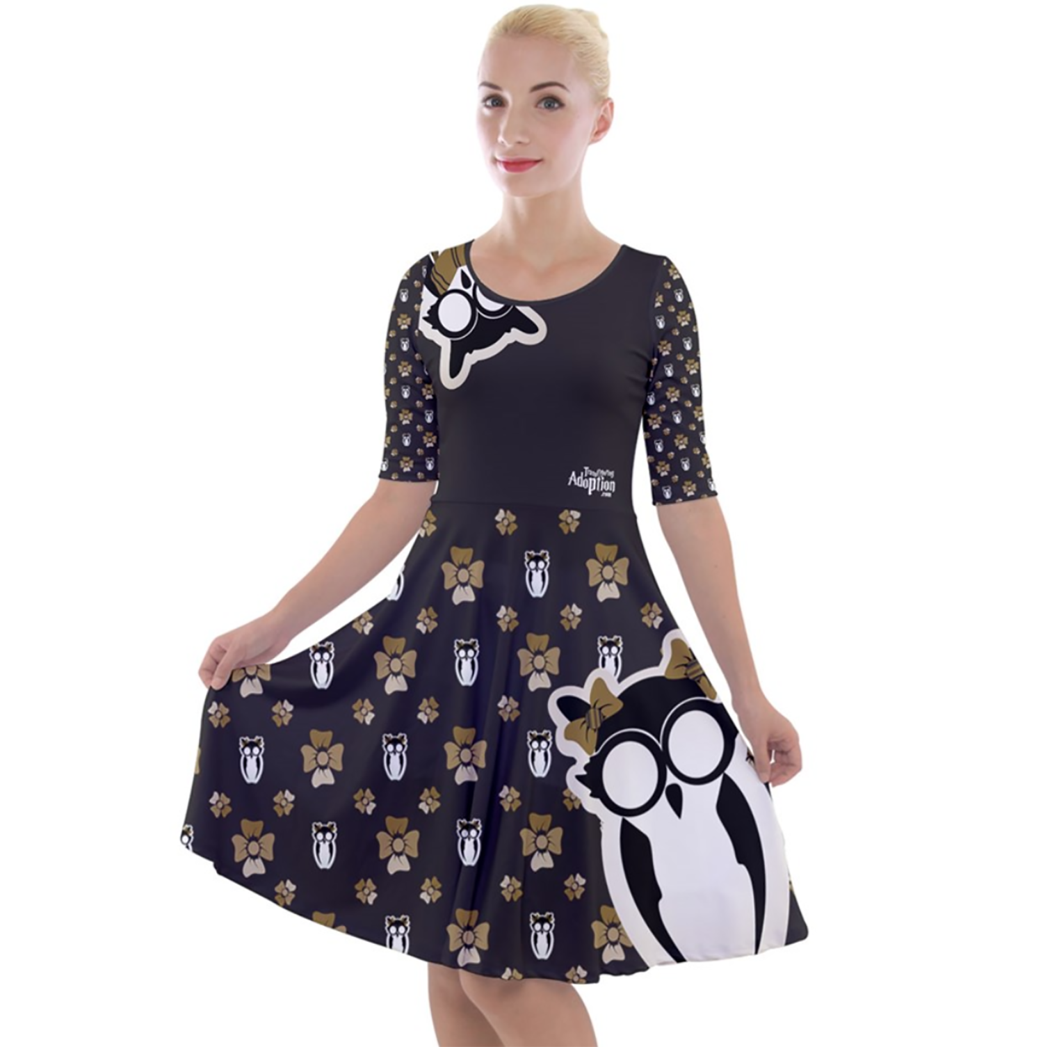 Owl (Yellow) Pattern Dress - Quarter Sleeve A-Line Dress - Inspired by Hufflepuff