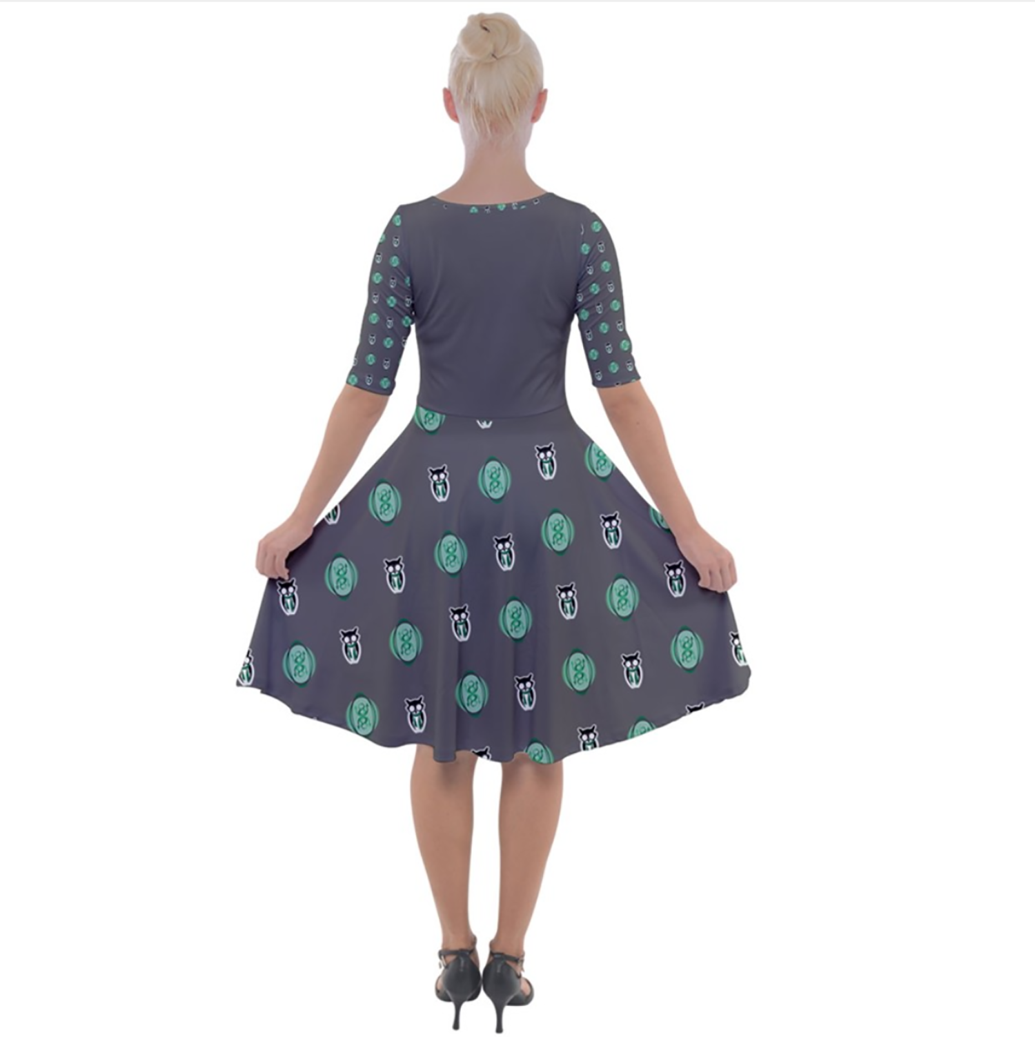 Owl (Green) Patterned Dress - Quarter Sleeve A-Line Dress - Inspired by Slytherin