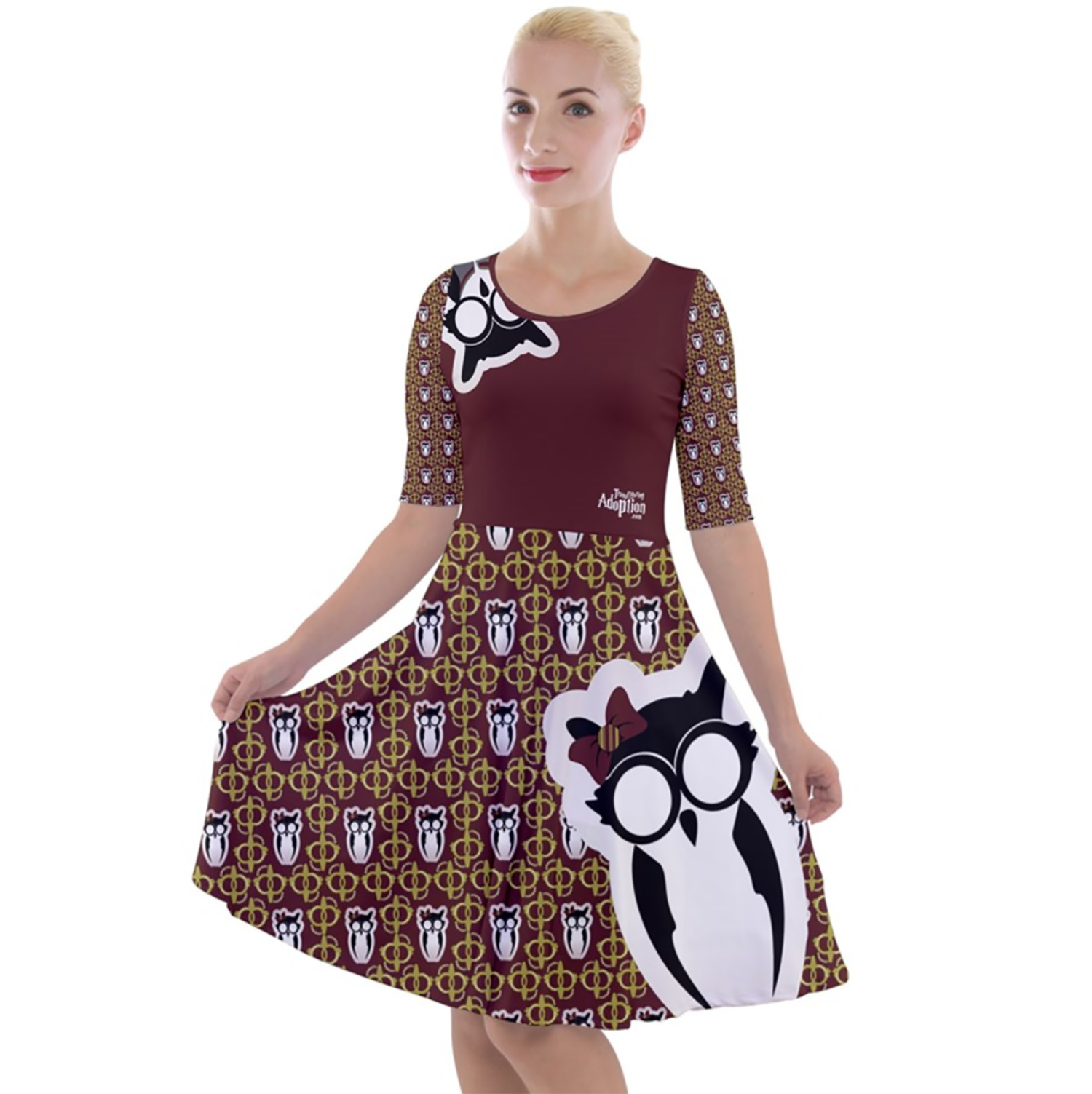 Owl (Red) Pattern Dress - Quarter Sleeve A-Line Dress - Inspired by Gryffindor