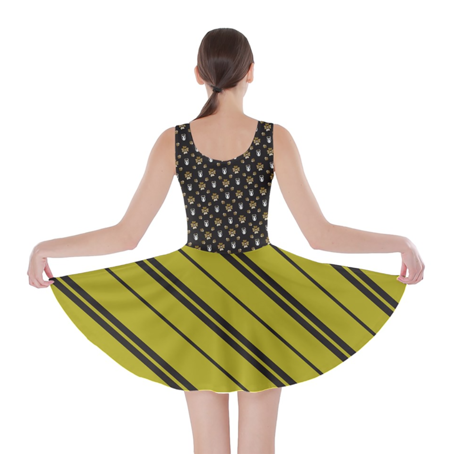 Owl (Yellow) Striped Skater Dress - Inspired by Hufflepuff