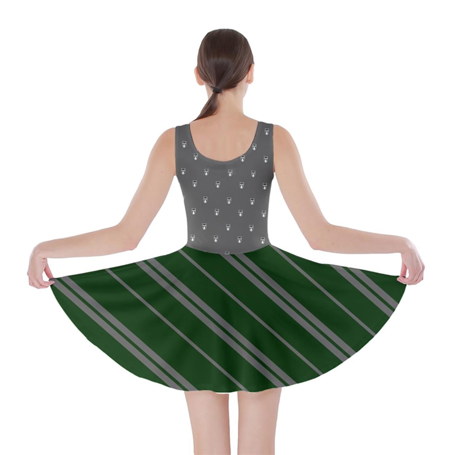 Owl (Green) Striped Skater Dress - Inspired by Slytherin