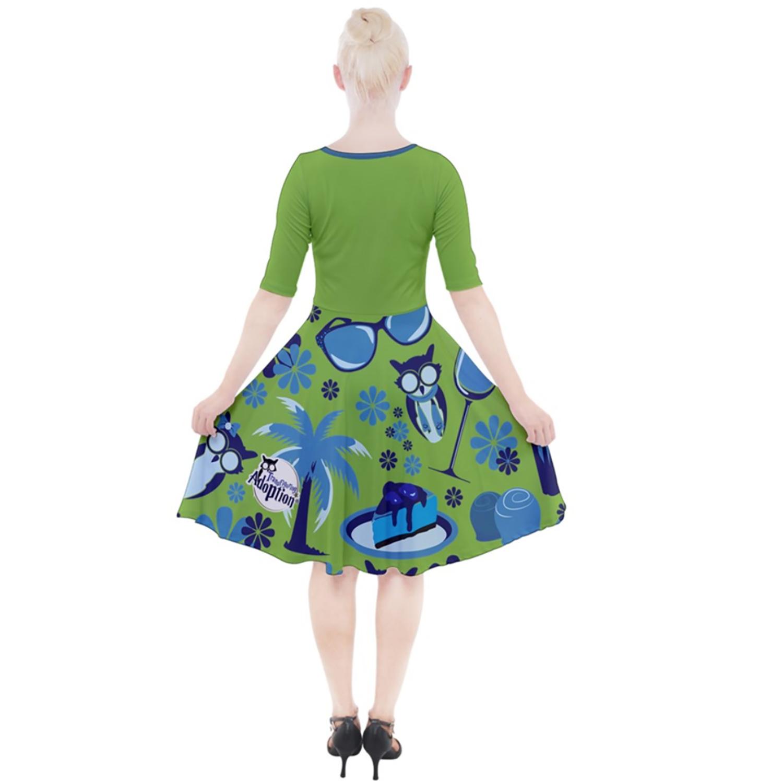 """Self-Care Goals"" (GREEN) Quarter Sleeve A-Line Dress"