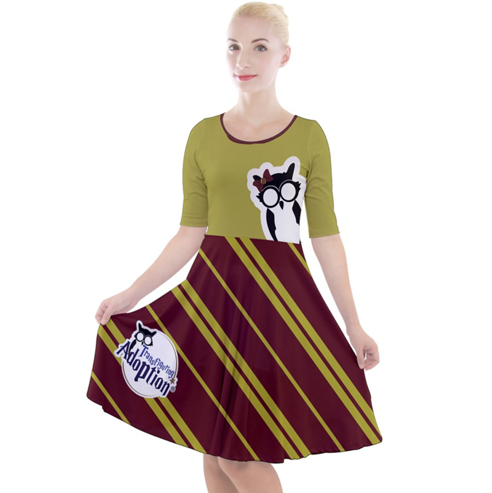 Owl (Red) Striped Dress - Quarter Sleeve A-Line Dress - Inspired by Gryffindor