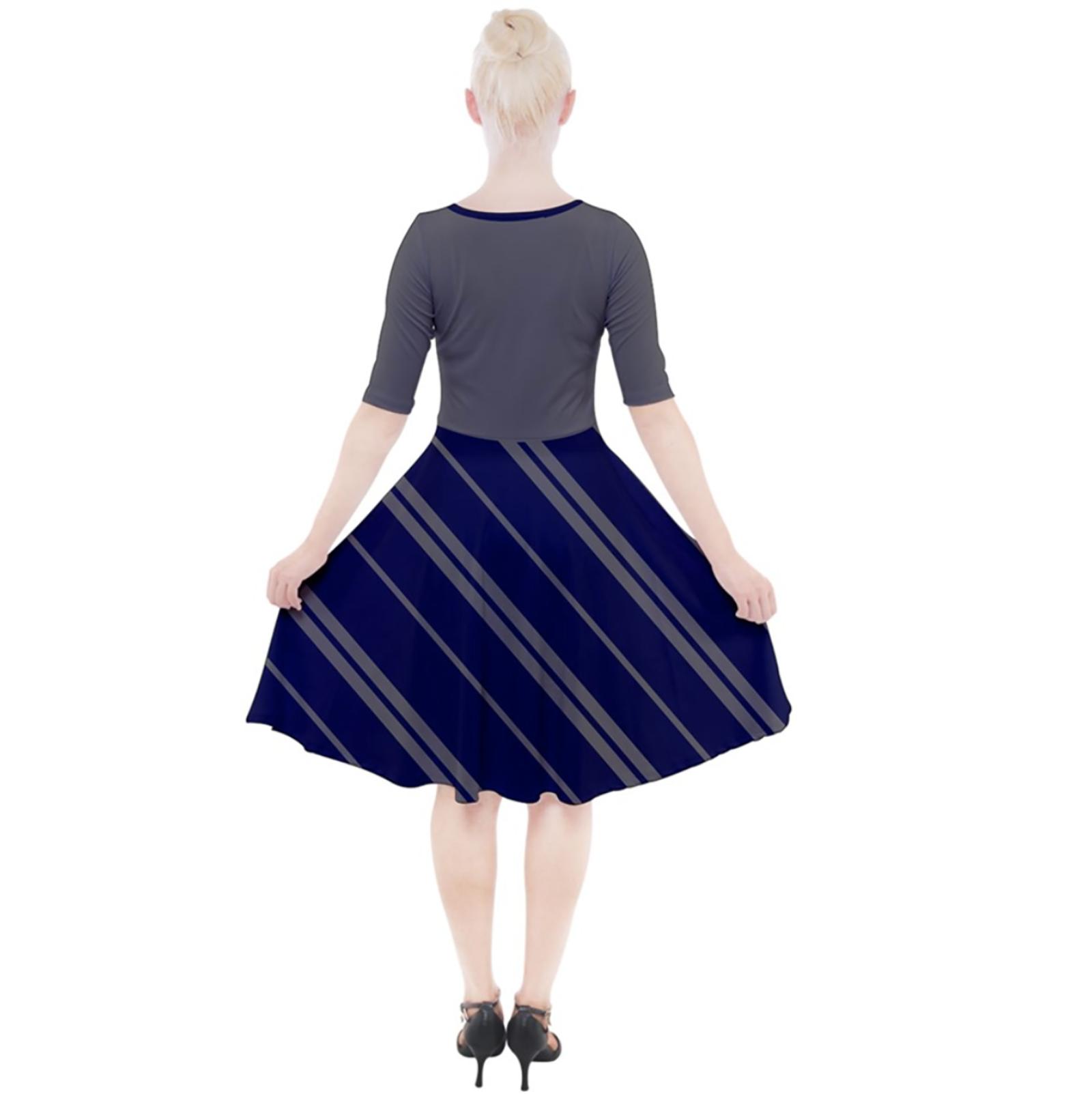 Owl (Blue) Striped Dress - Quarter Sleeve A-Line Dress - Inspired by Ravenclaw