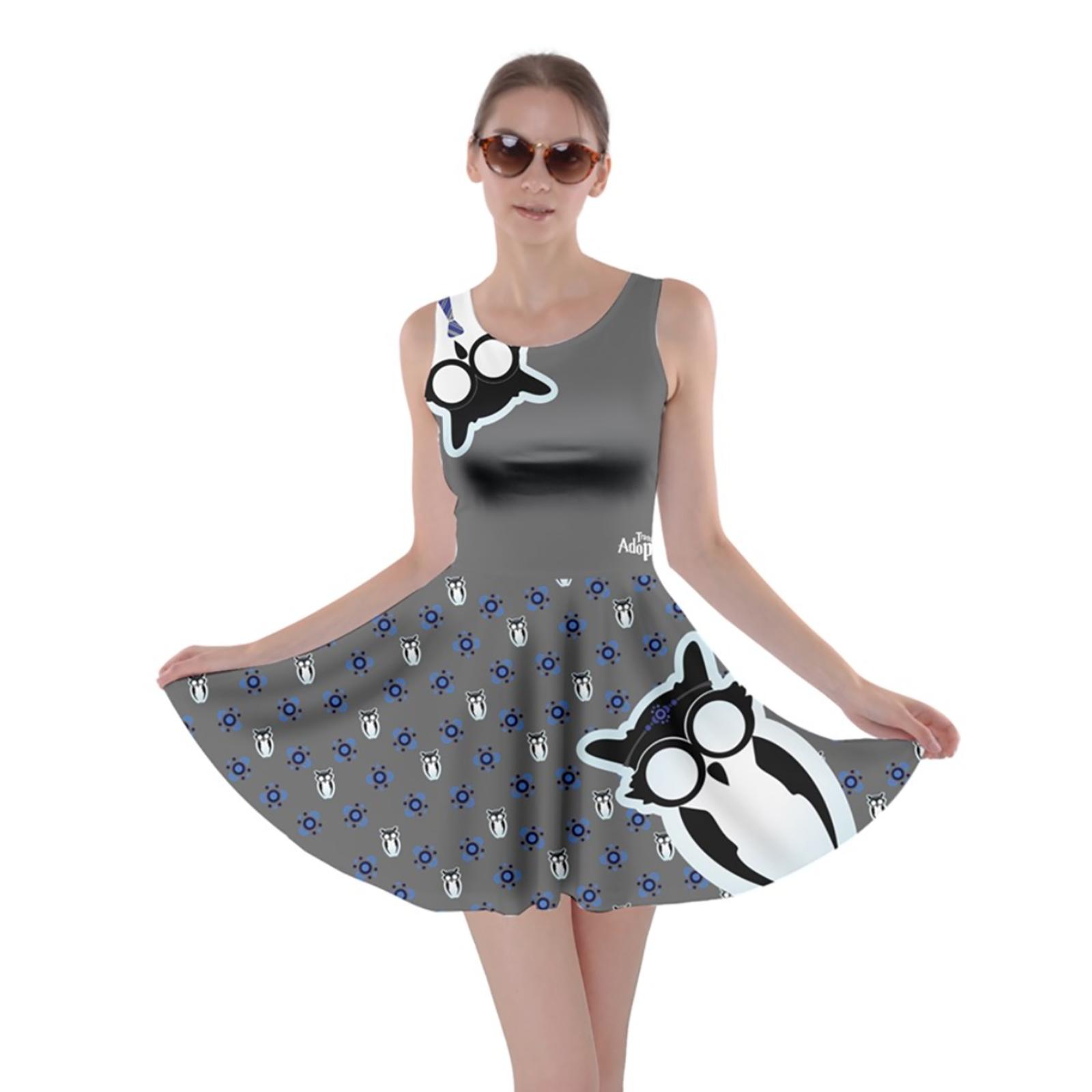 Owl (Blue) Pattern Skater Dress - Inspired by Ravenclaw