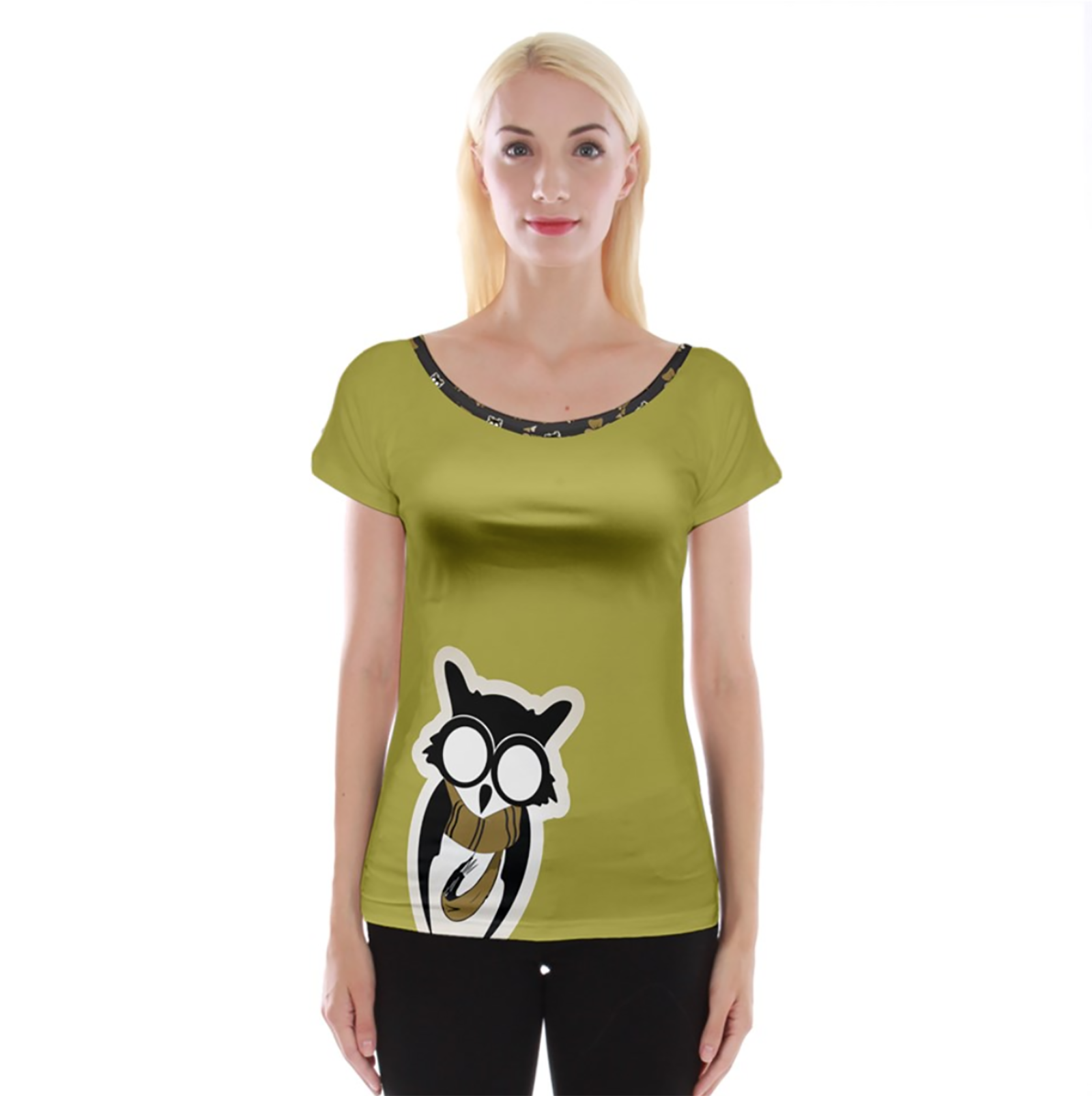 Yellow/Black Owl Cap Sleeve Top - Inspired by Hufflepuff