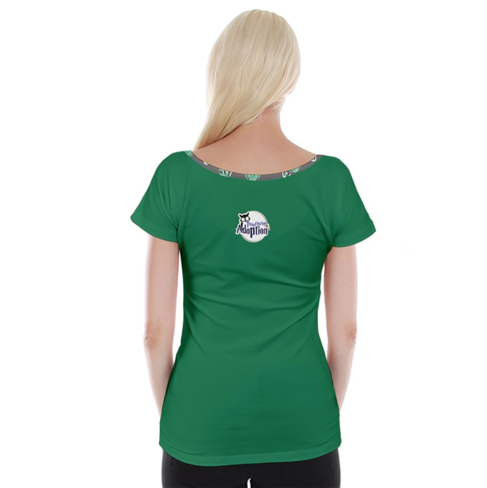 Green/Gray Owl Cap Sleeve Top - Inspired by Slytherin