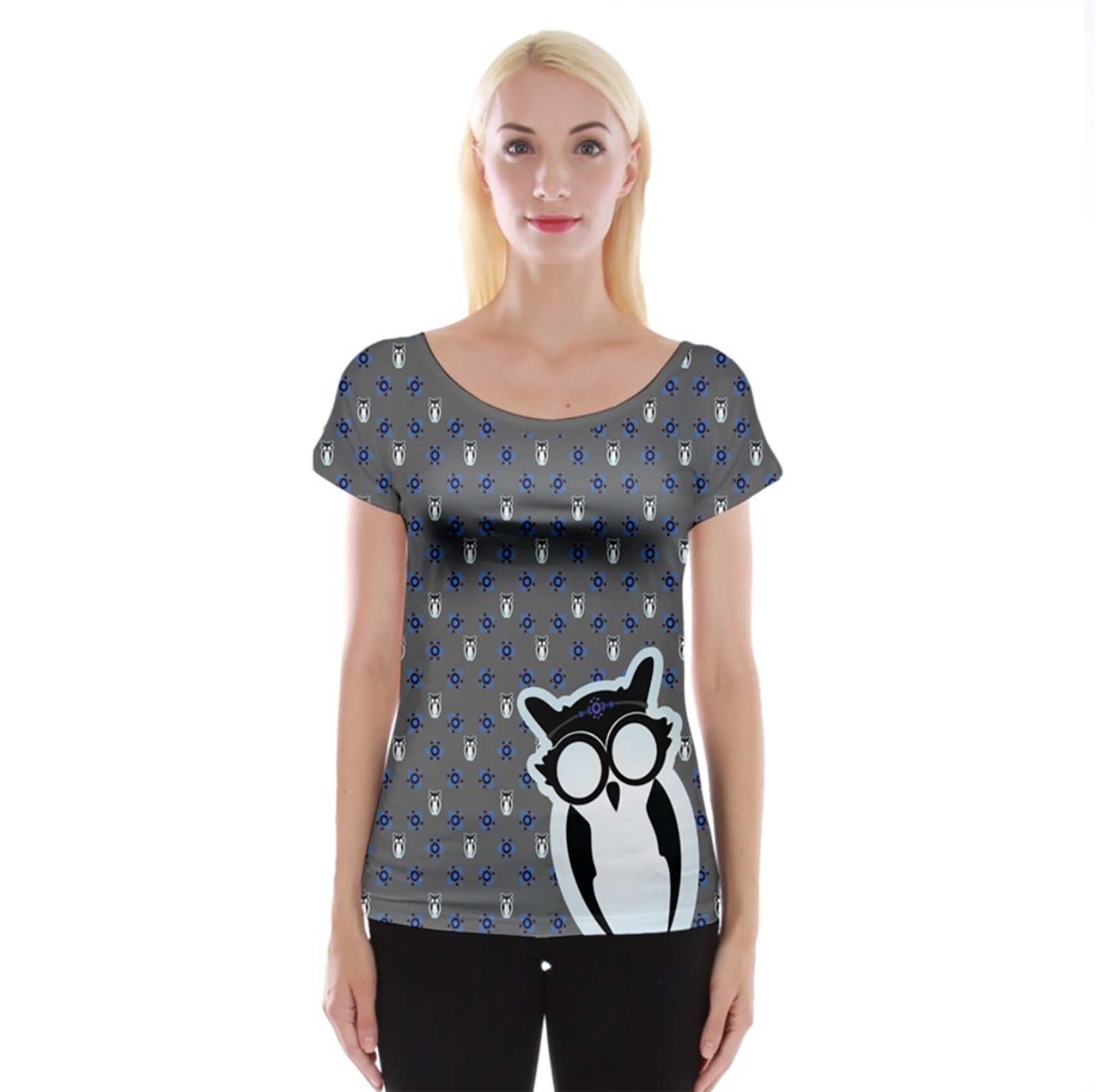 Blue/gray Pattern Owl Cap Sleeve Top - Inspired by Ravenclaw