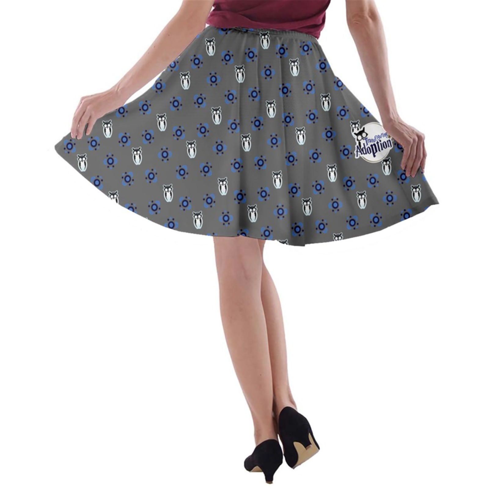 Blue/gray Pattern Owl A-line Skater Skirt - Inspired by Ravenclaw