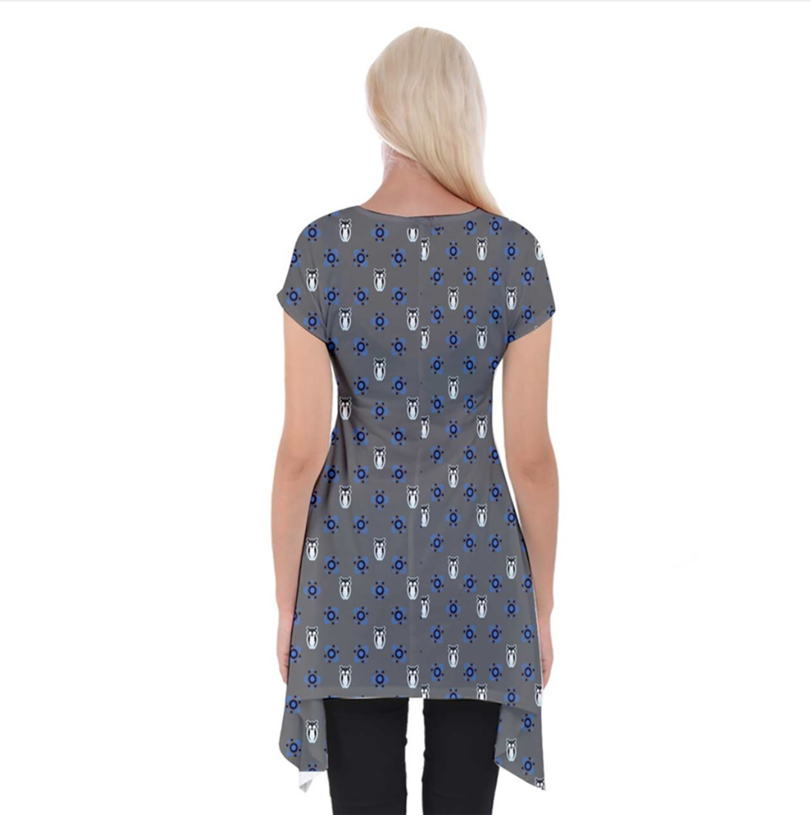 Blue/gray Pattern Women's Short Sleeve Side Drop Tunic - Inspired by Ravenclaw