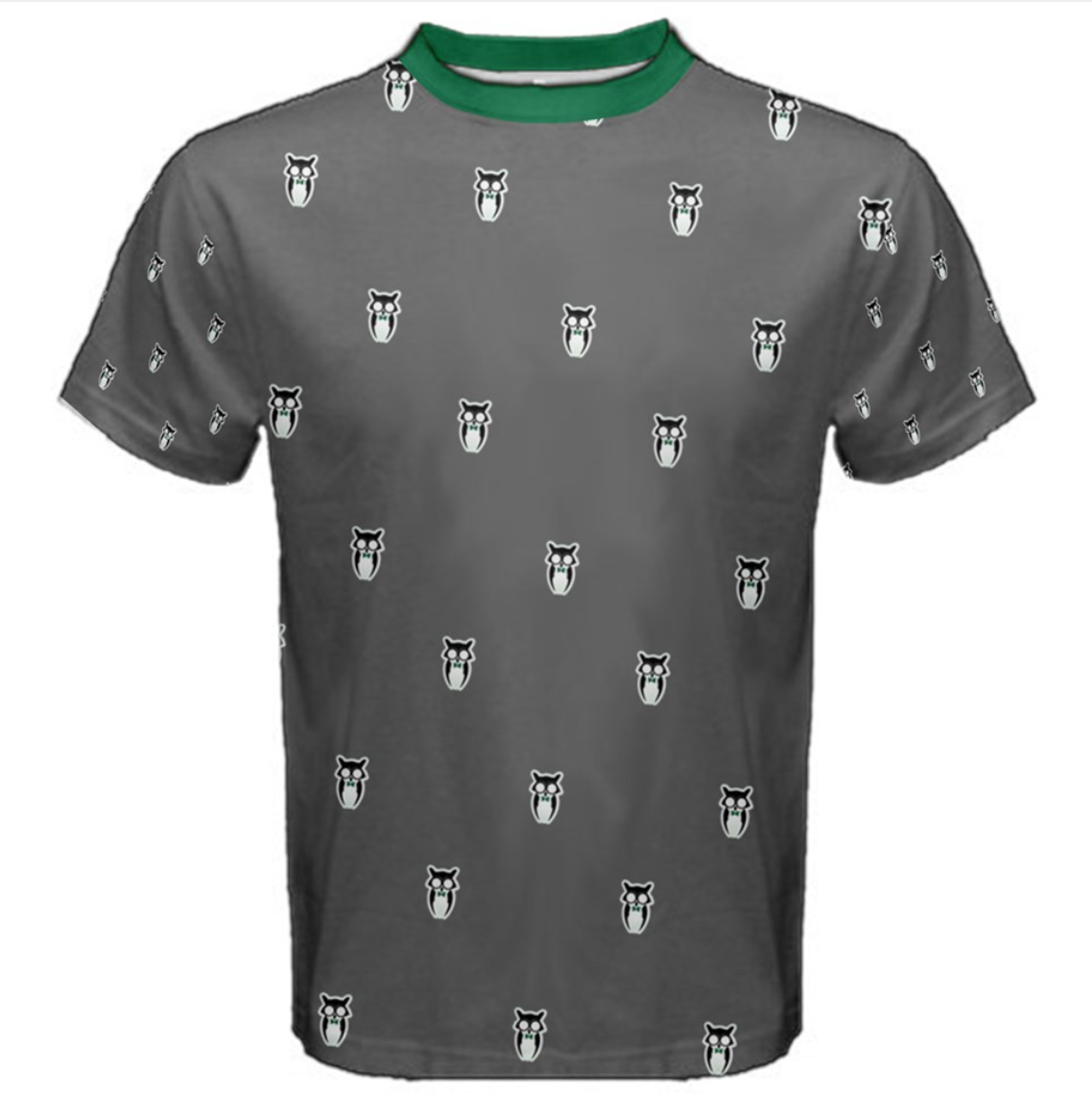 Owl Small Patterned (Unisex) Cotton Tee - Inspired by Slytherin House