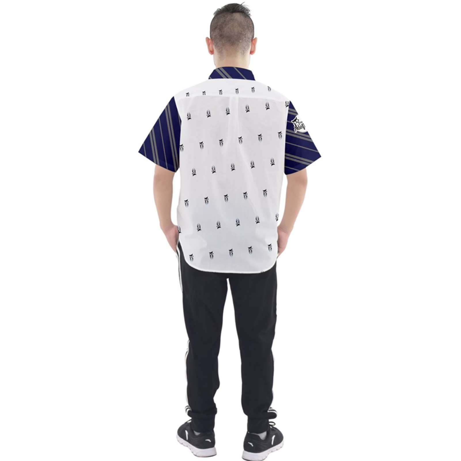 Blue & Gray Owl Patterned Button Up Short Sleeve Shirt - Inspired by Ravenclaw House