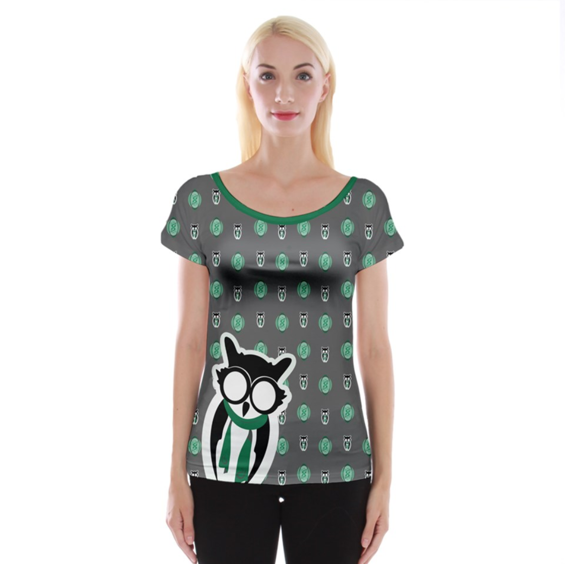 Green/gray Pattern Owl Cap Sleeve Top - Inspired by Sytherin