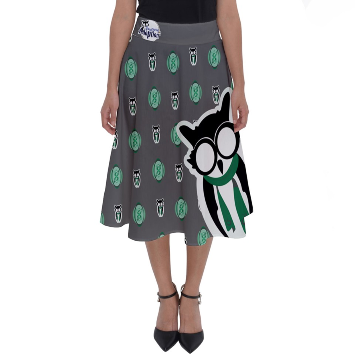 Green/gray Pattern Owl Perfect Length Midi Skirt - Inspired by Slytherin