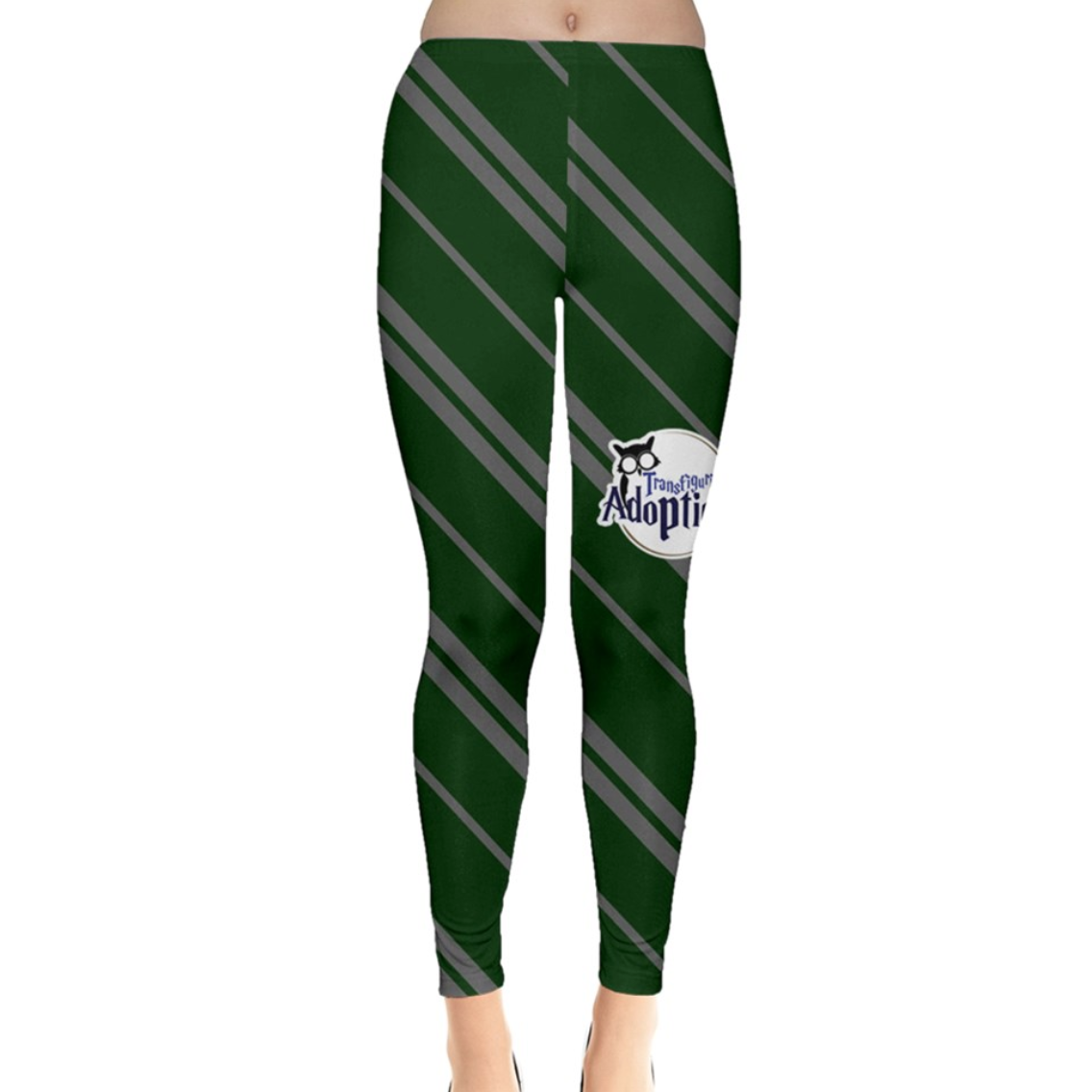 Green & Gray Striped Leggings - Inspired by Slytherin