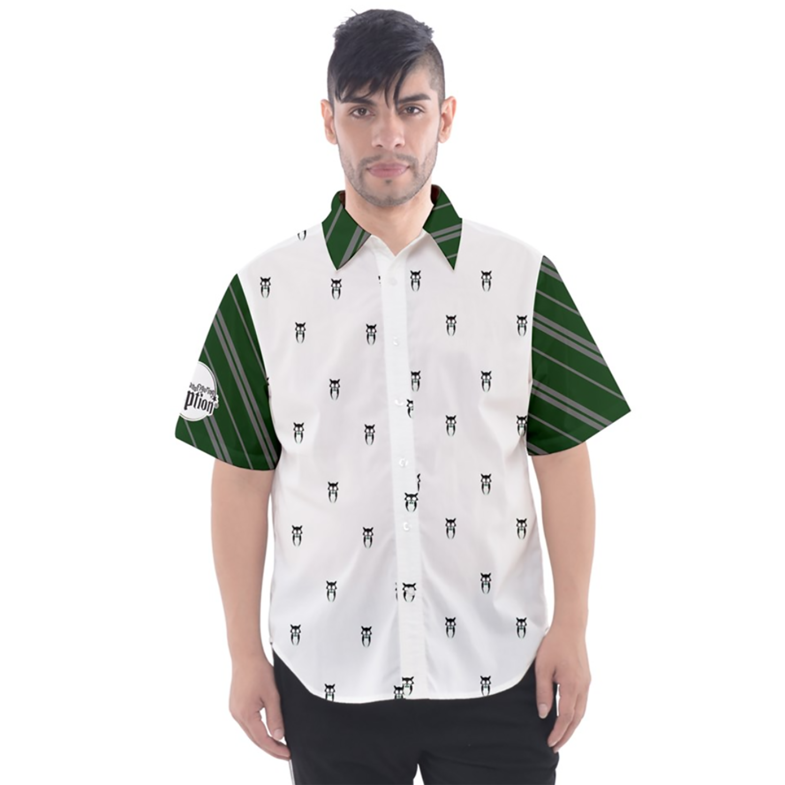 Green & Gray Owl Patterned Button Up Short Sleeve Shirt - Inspired by Slytherin House