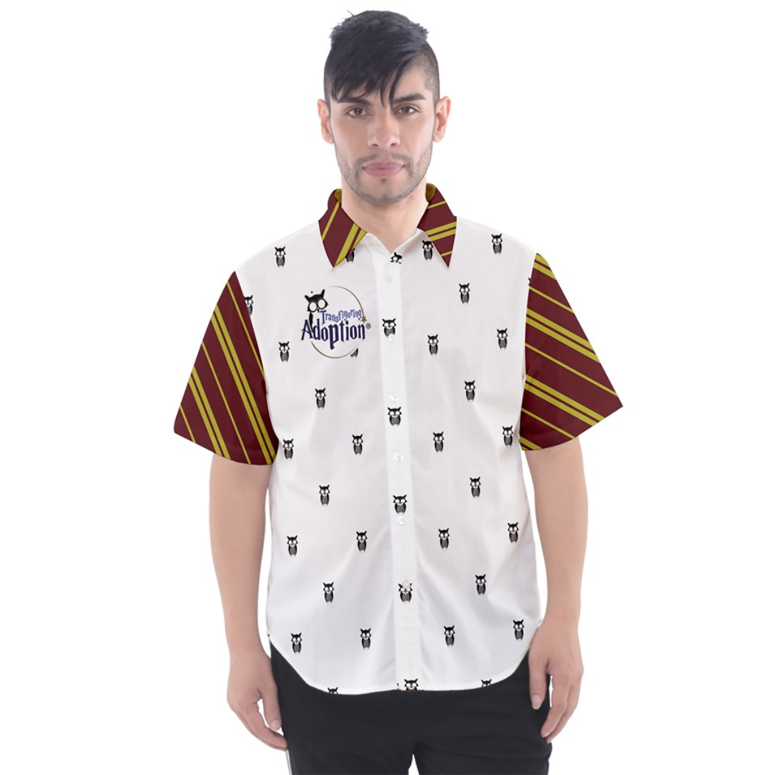 Red & Gold Owl Patterned Button Up Short Sleeve Shirt - Inspired by Gryffindor House