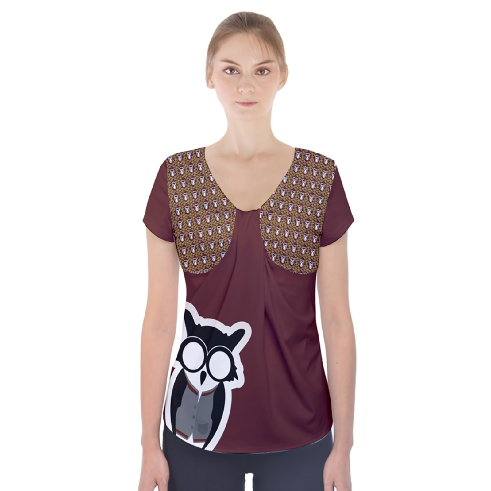 Red and Gold Owl Short Sleeve Front Detail Top - Inspired by Gryffindor