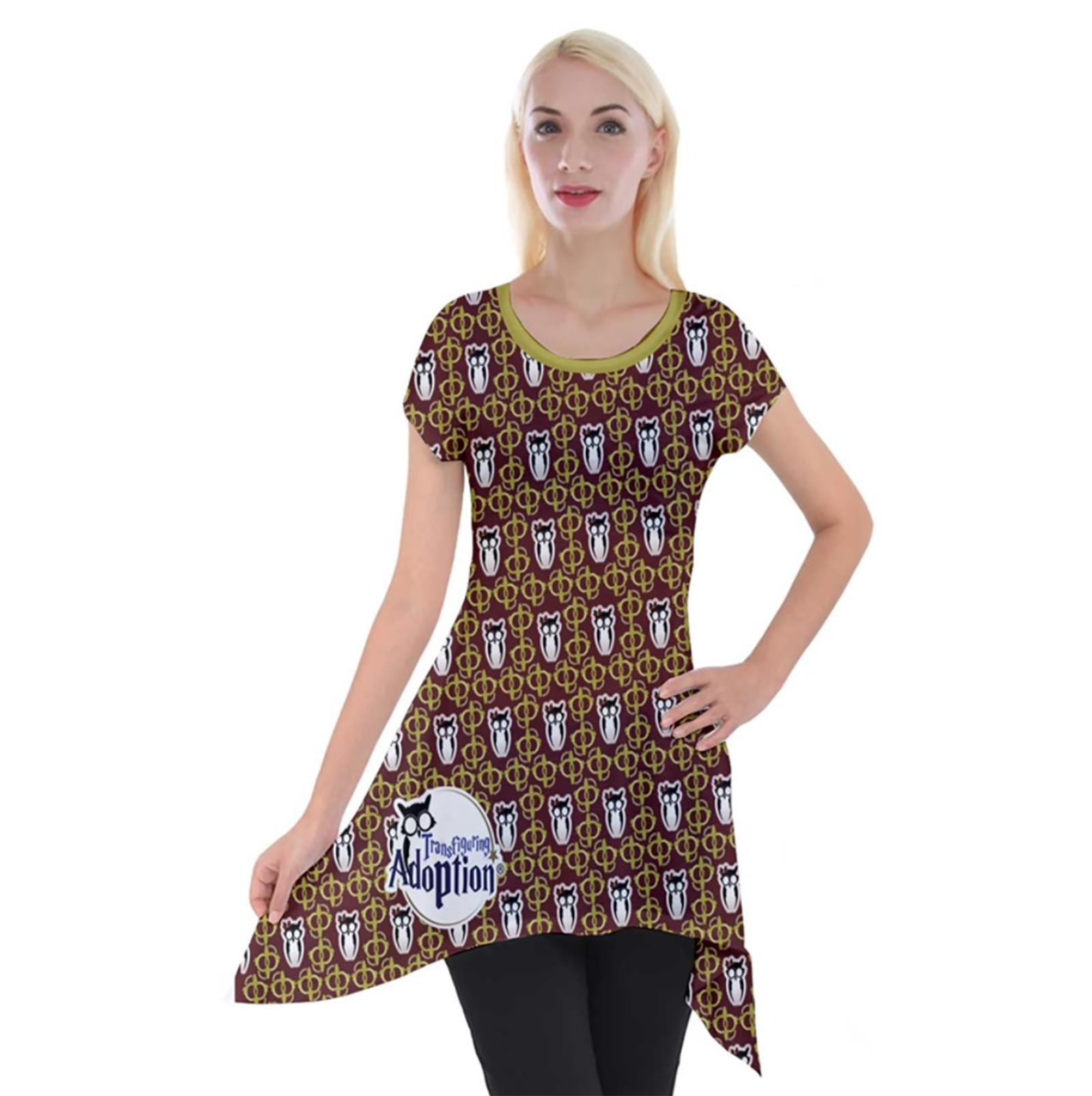 Red and Gold Pattern Women's Short Sleeve Side Drop Tunic - Inspired by Gryffindor