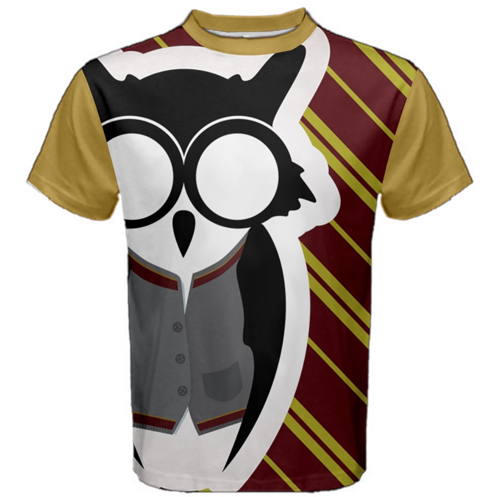 Owl Striped (Unisex) Cotton Tee - Inspired by Gryffindor House