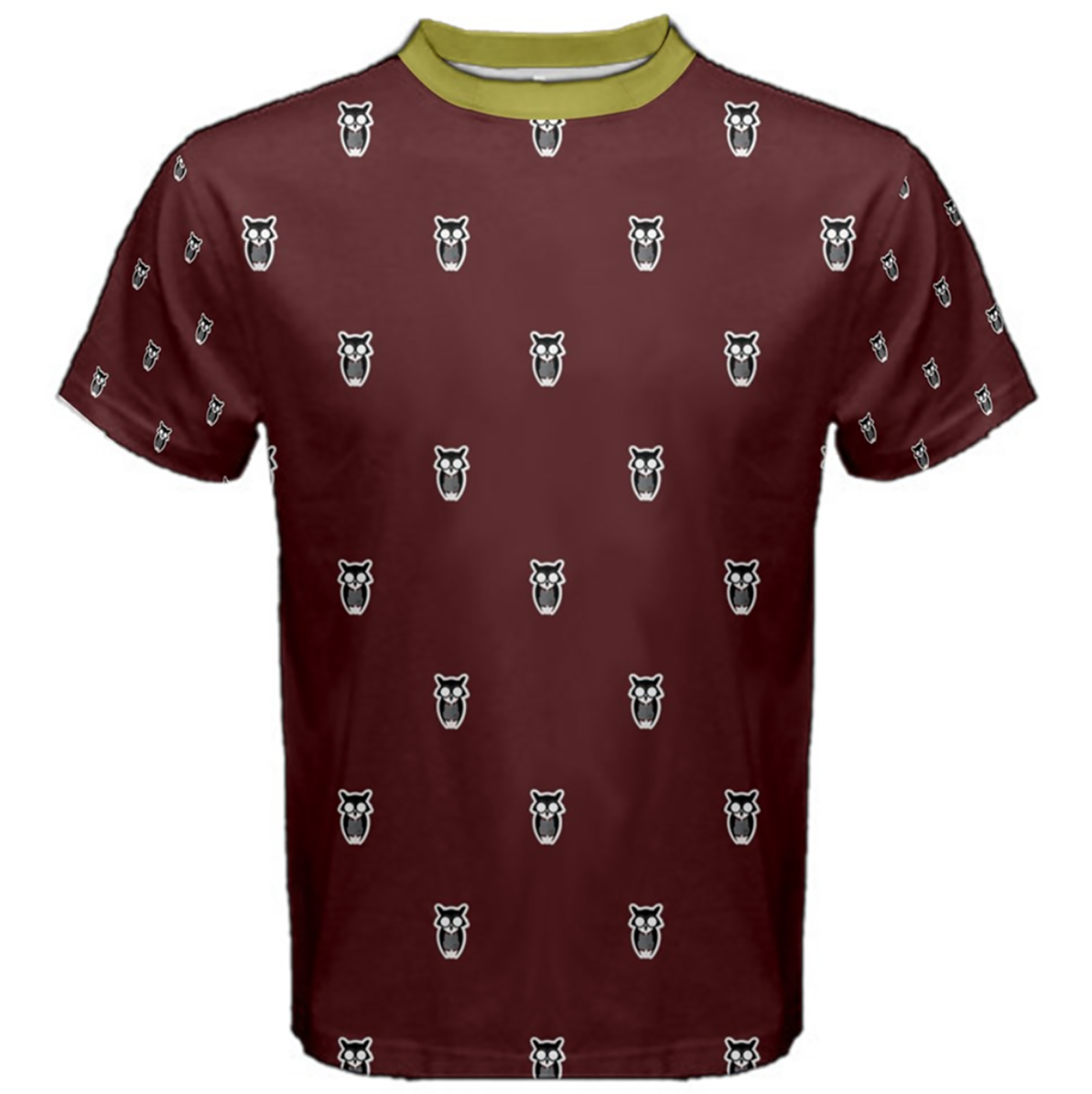 Owl Patterned (Unisex) Cotton Tee - Inspired by Gryffindor House
