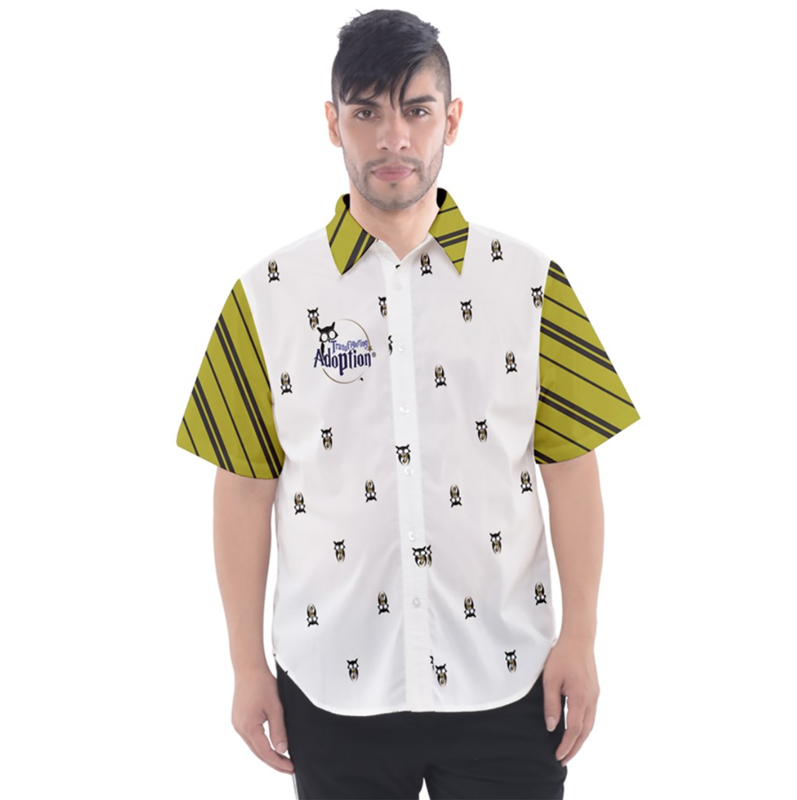 Yellow & Black Owl Patterned Button Up Short Sleeve Shirt - Inspired by Hufflepuff House