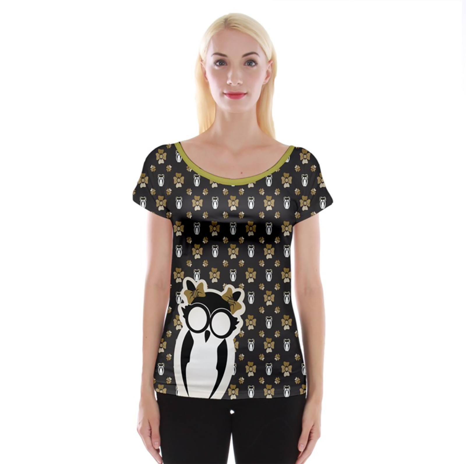 Yellow & Black Owl Pattern Cap Sleeve Top - Inspired by Hufflepuff