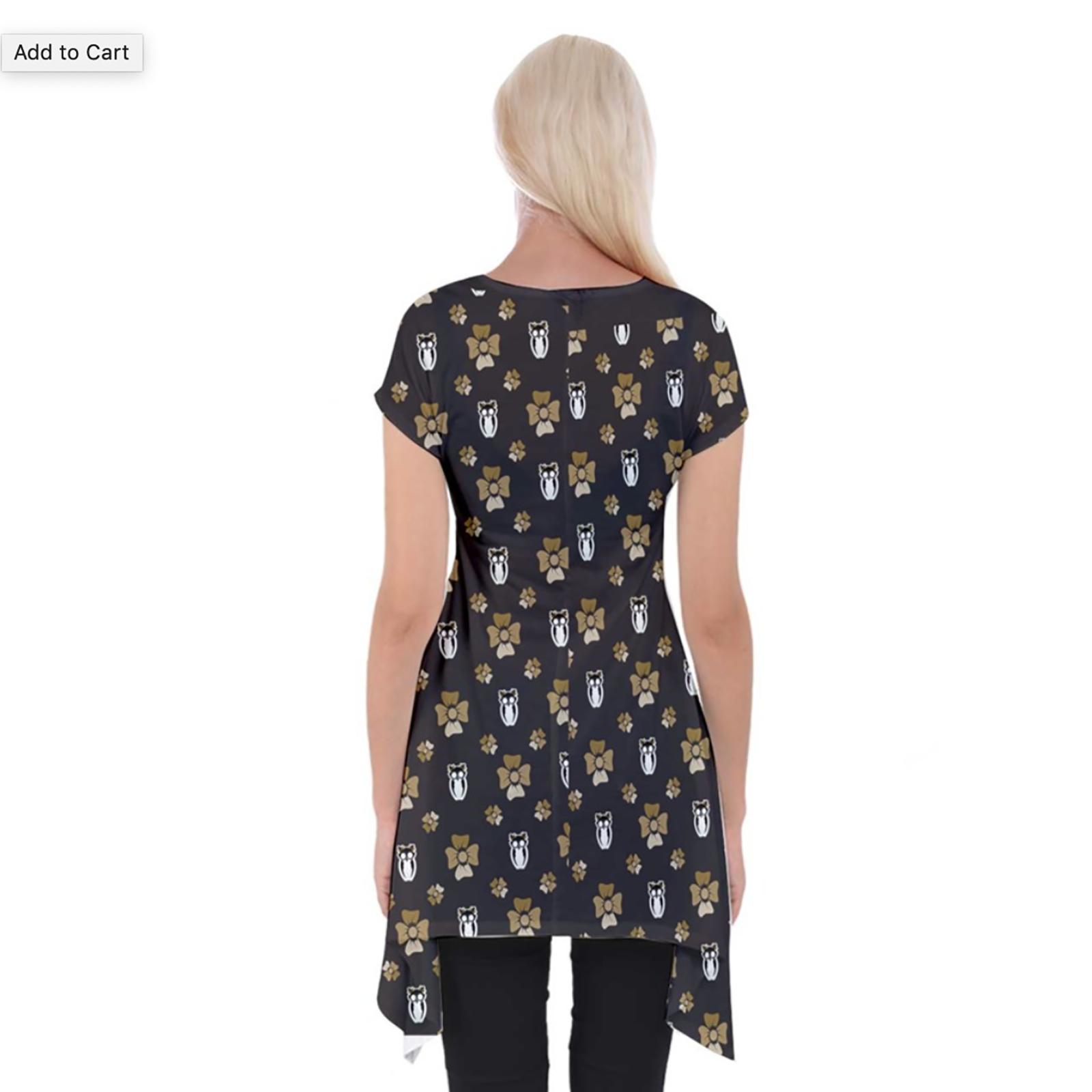 Yellow & Black Pattern Women's Short Sleeve Side Drop Tunic - Inspired by Hufflepuff