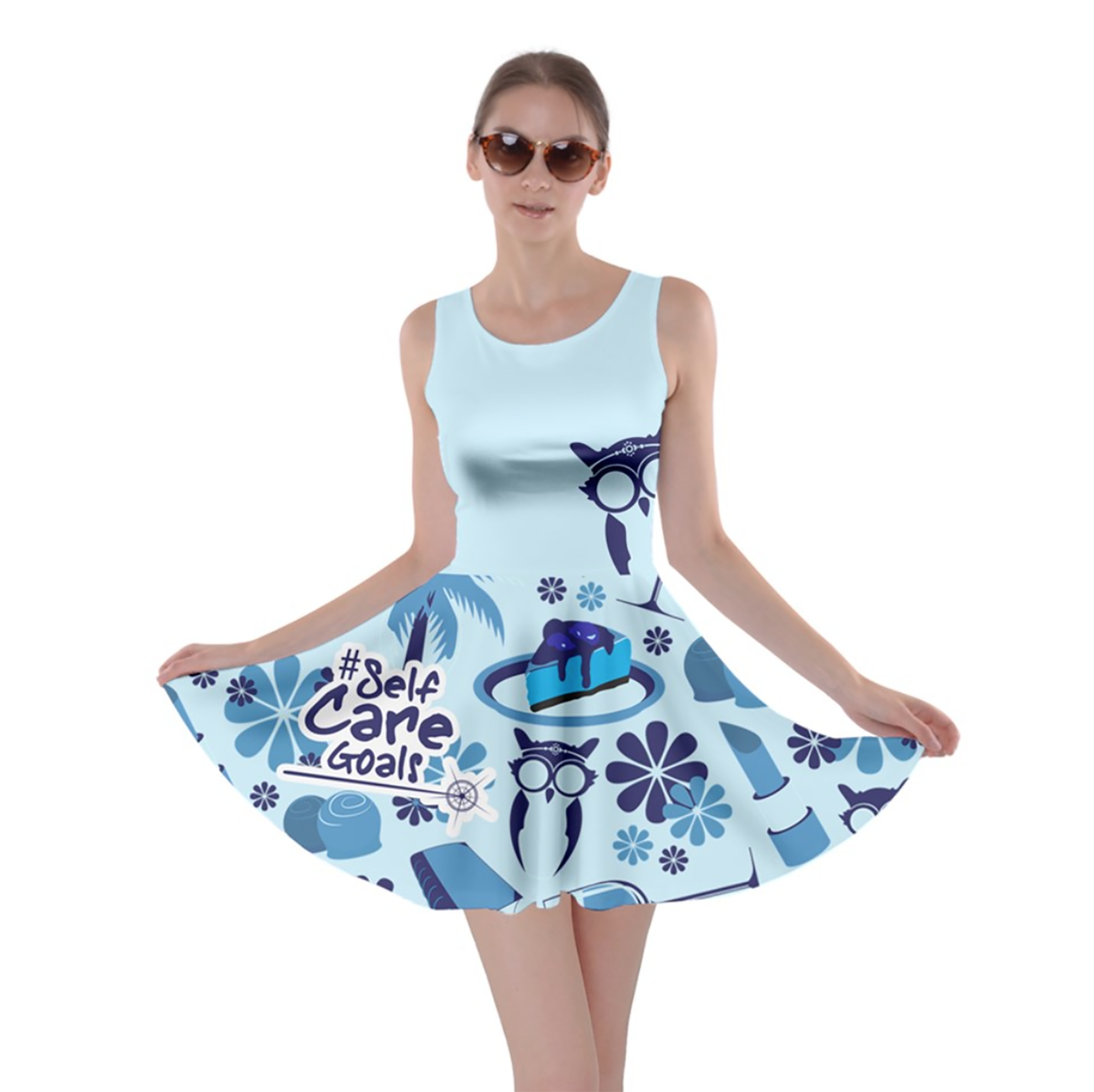 Self-Care Pattern Skater Dress (Blue)