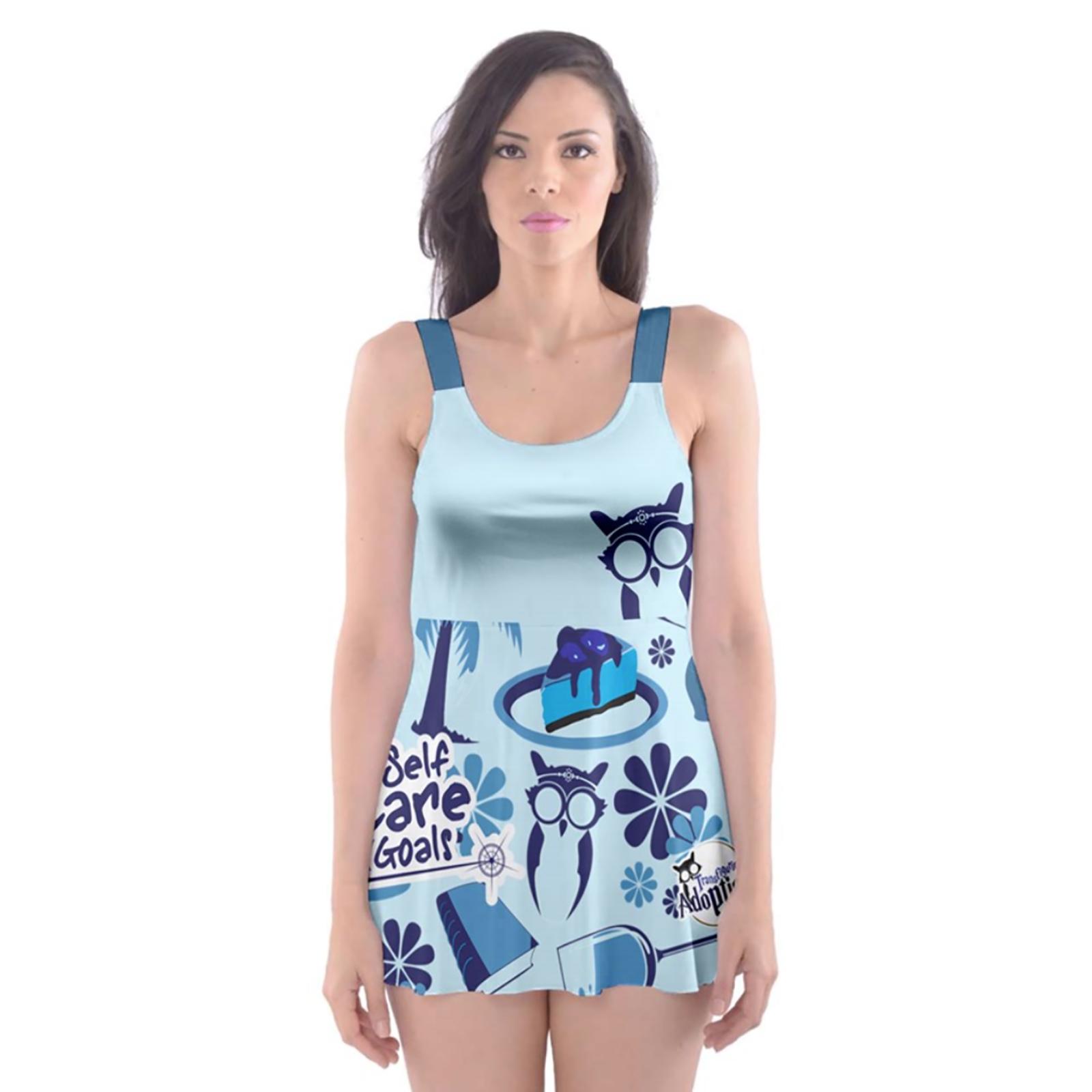Self-Care Skater Dress Swimsuit (Blue)