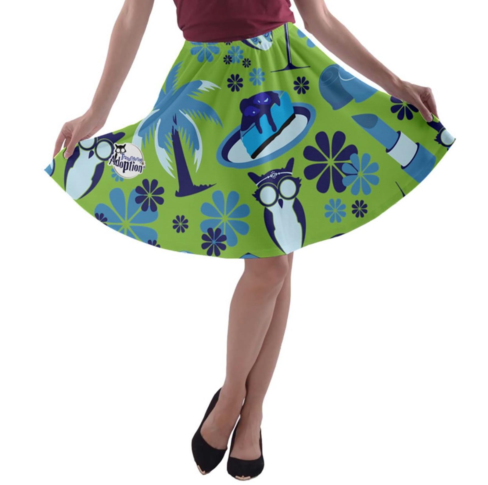 Self-Care Pattern A-line Skater Skirt (Green)