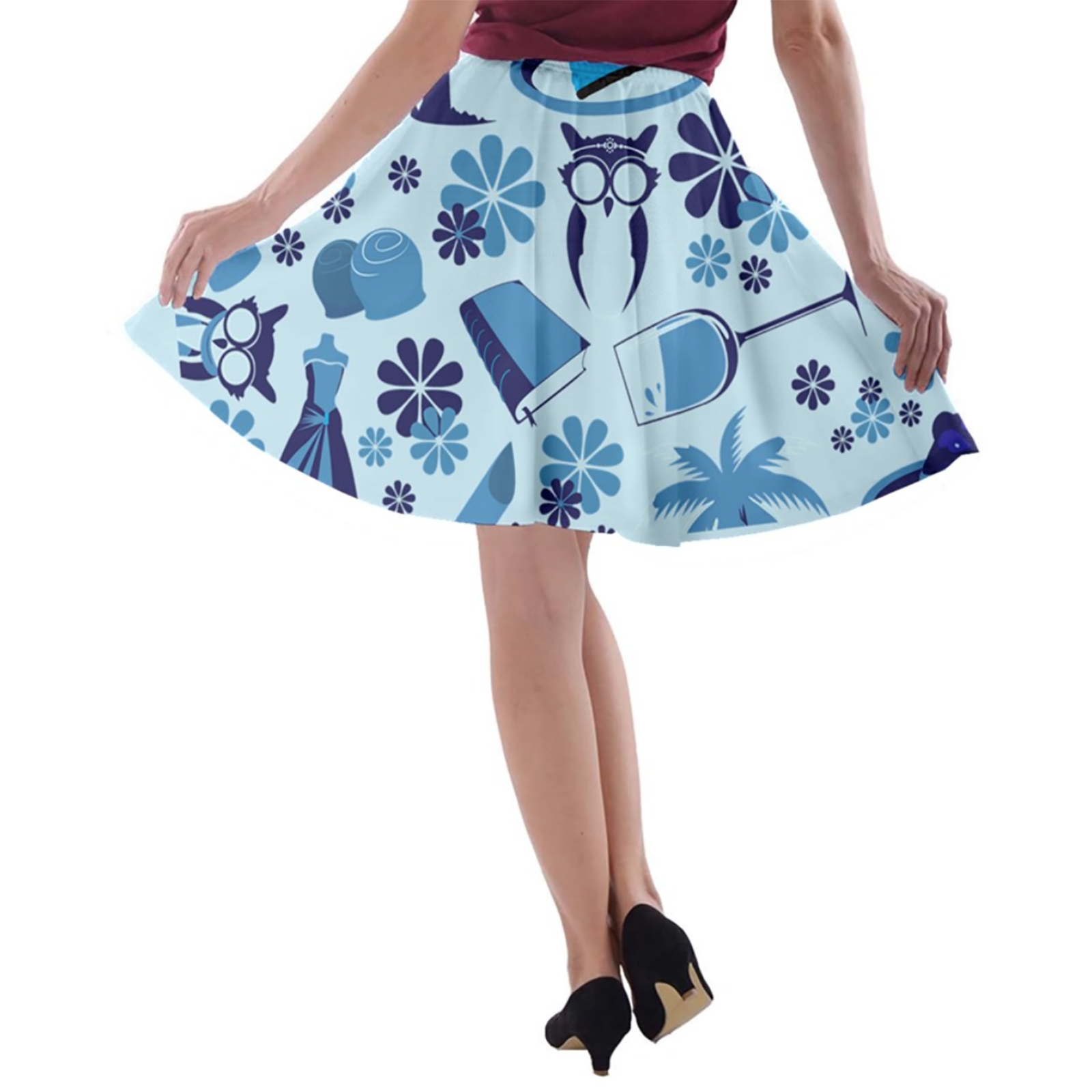 Self-Care Pattern A-line Skater Skirt (Blue)