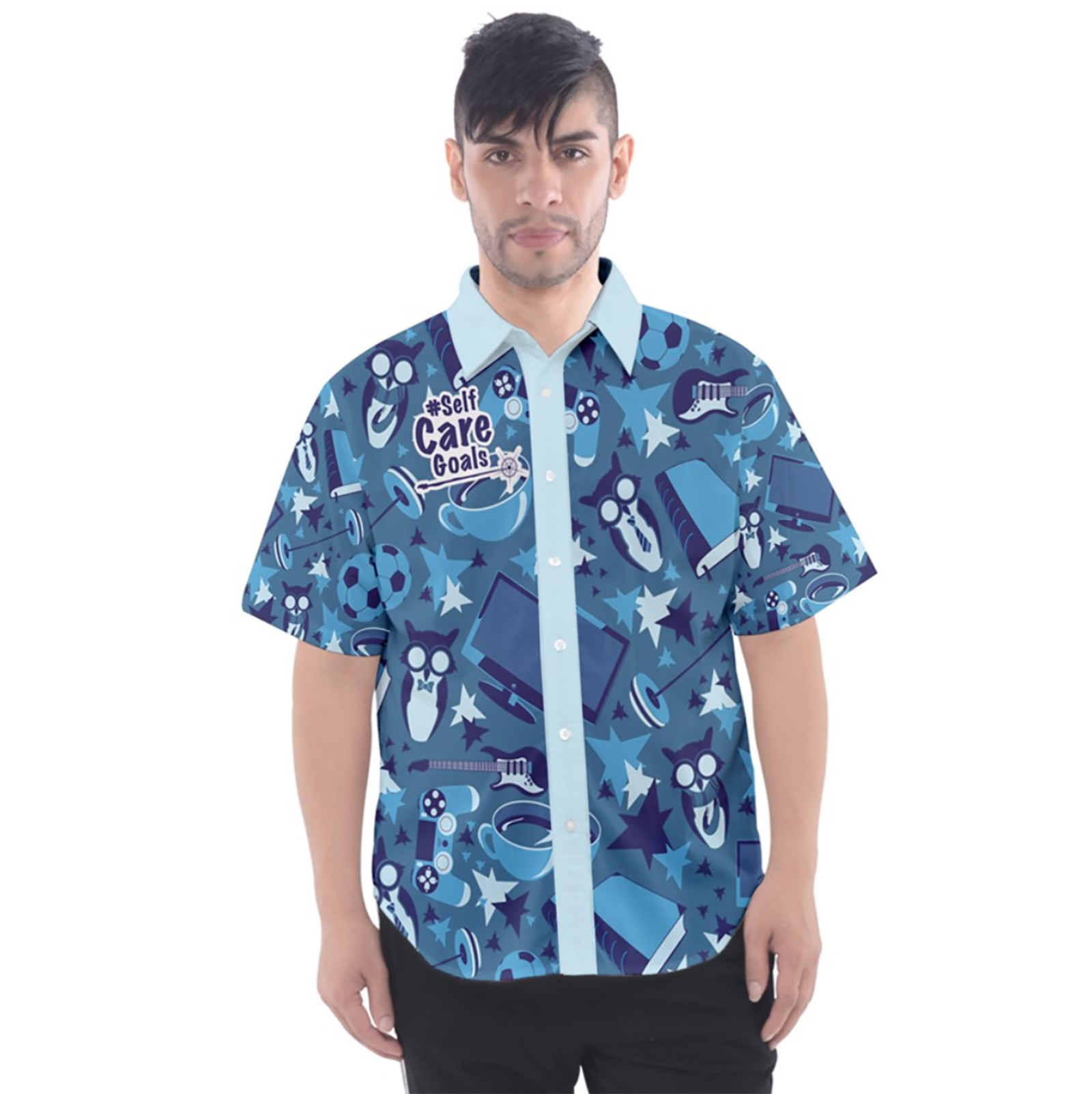 Self-Care Men's Patterned Button Up Short Sleeve Shirt (Blue)