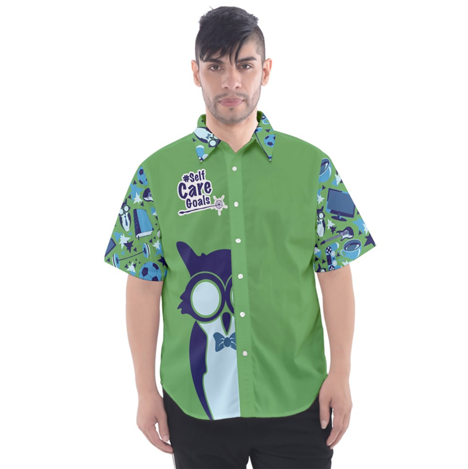 Self-Care Men's Button Up Short Sleeve Shirt (Green Solid Background)