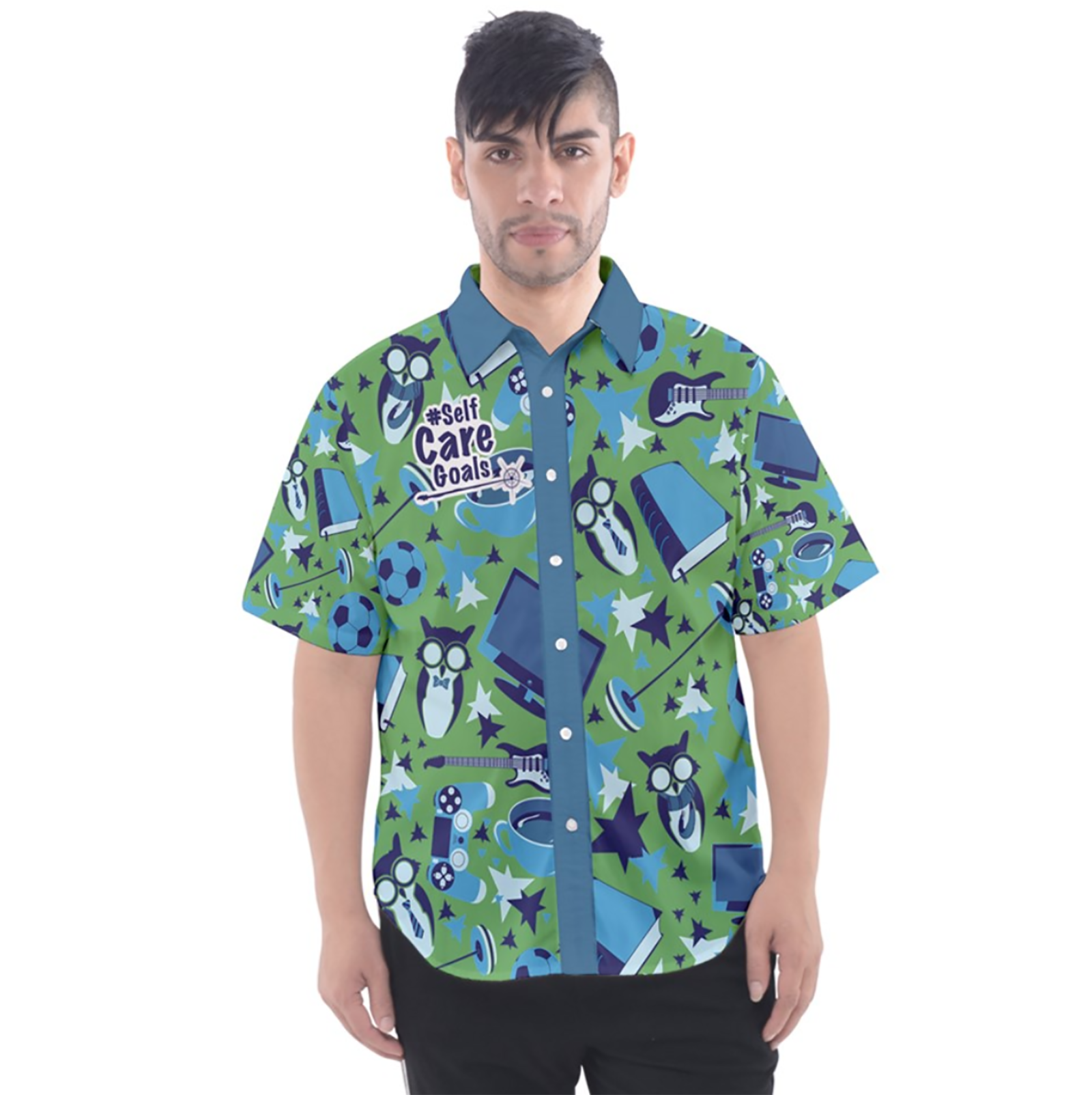 Self-Care Men's Patterned Button Up Short Sleeve Shirt (Green)