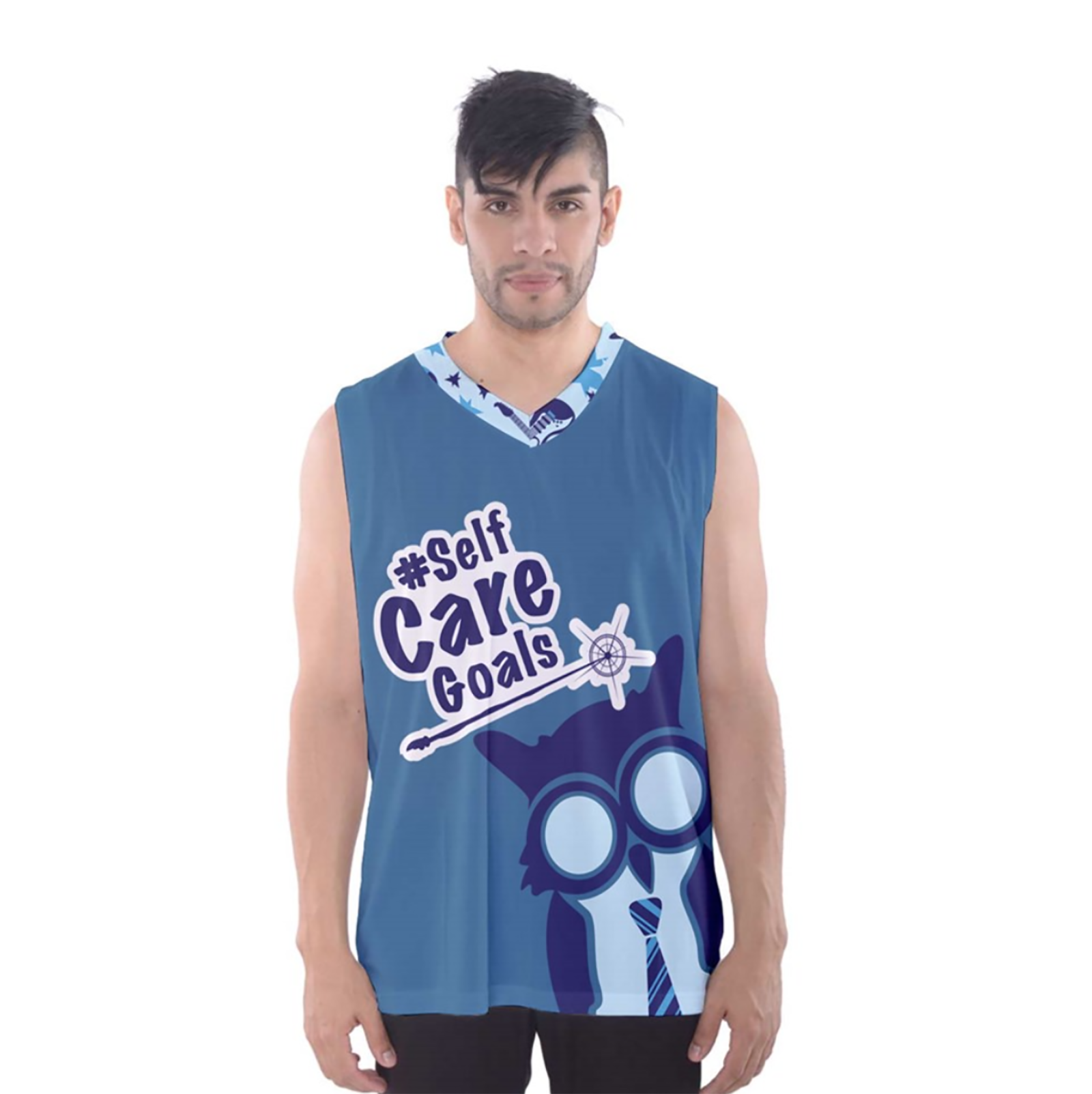 Self-Care Men's Tank Top (Blue Solid Background)
