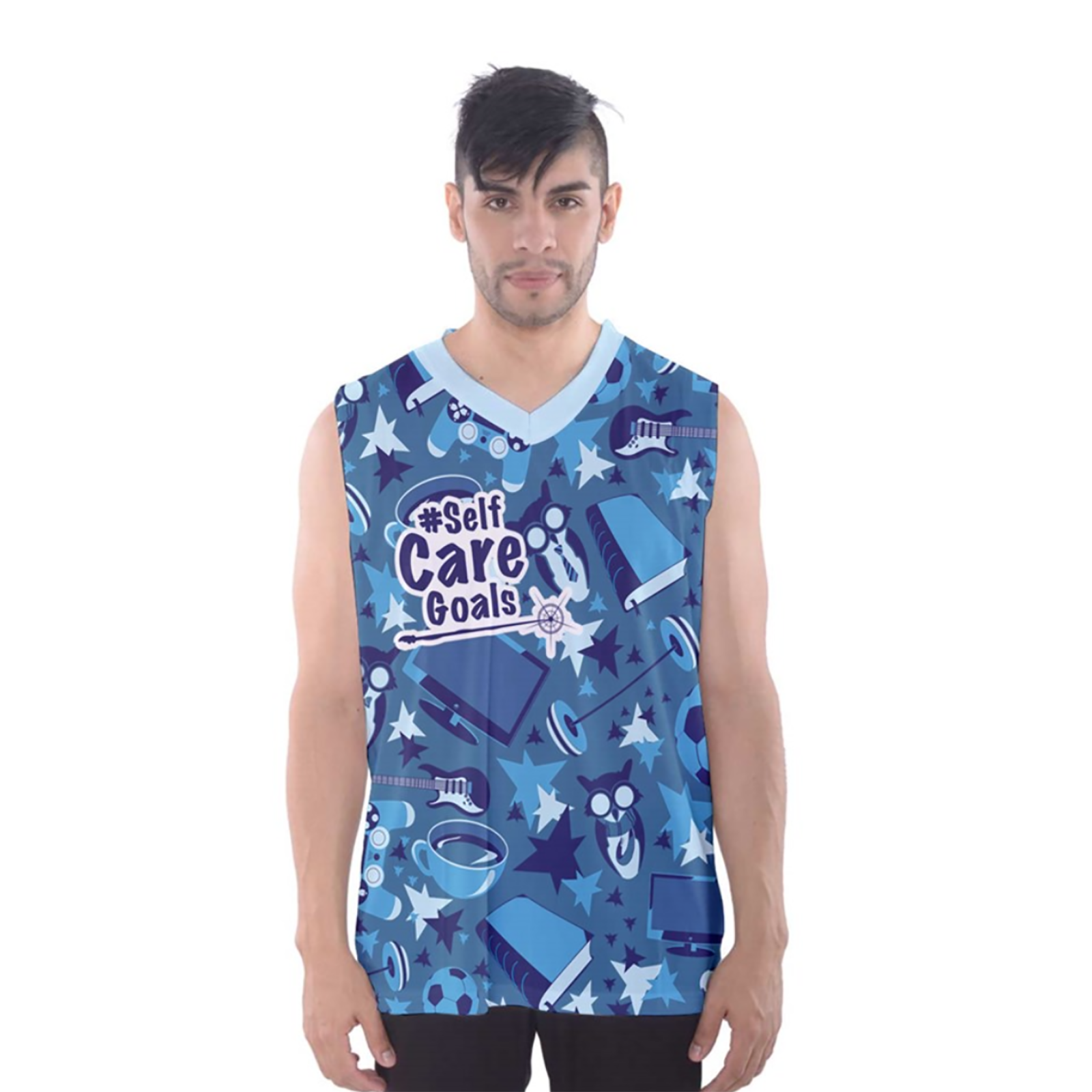 Self-Care Patterned Men's Tank Top (Blue)