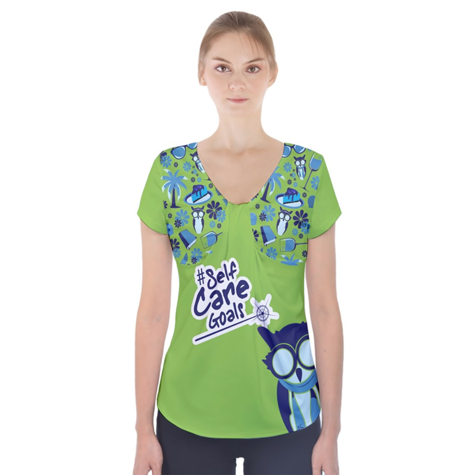 Self-Care Short Sleeve Front Detail Top (Green)