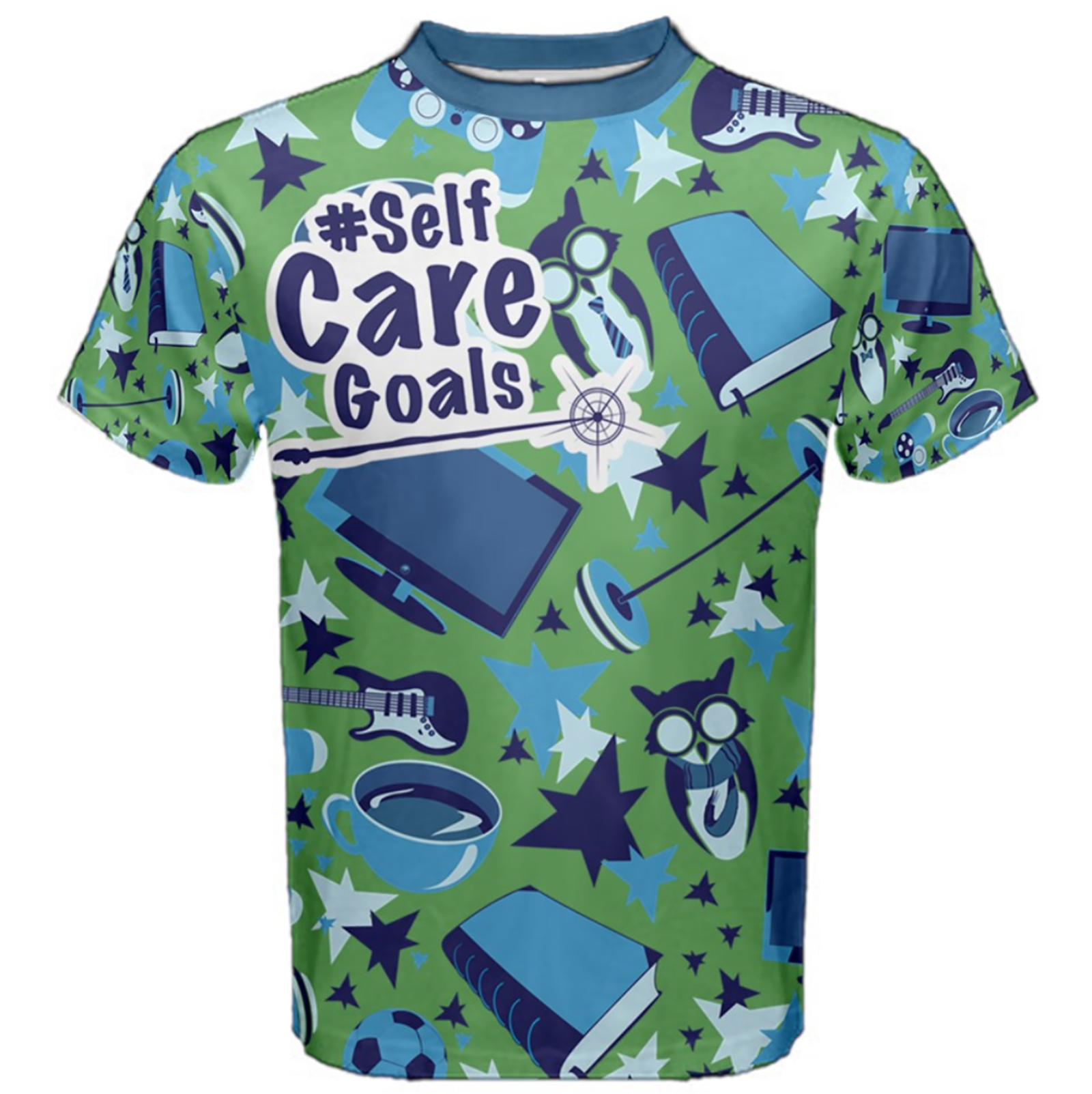 Self-Care Men's Patterned Cotton Tee (Green)