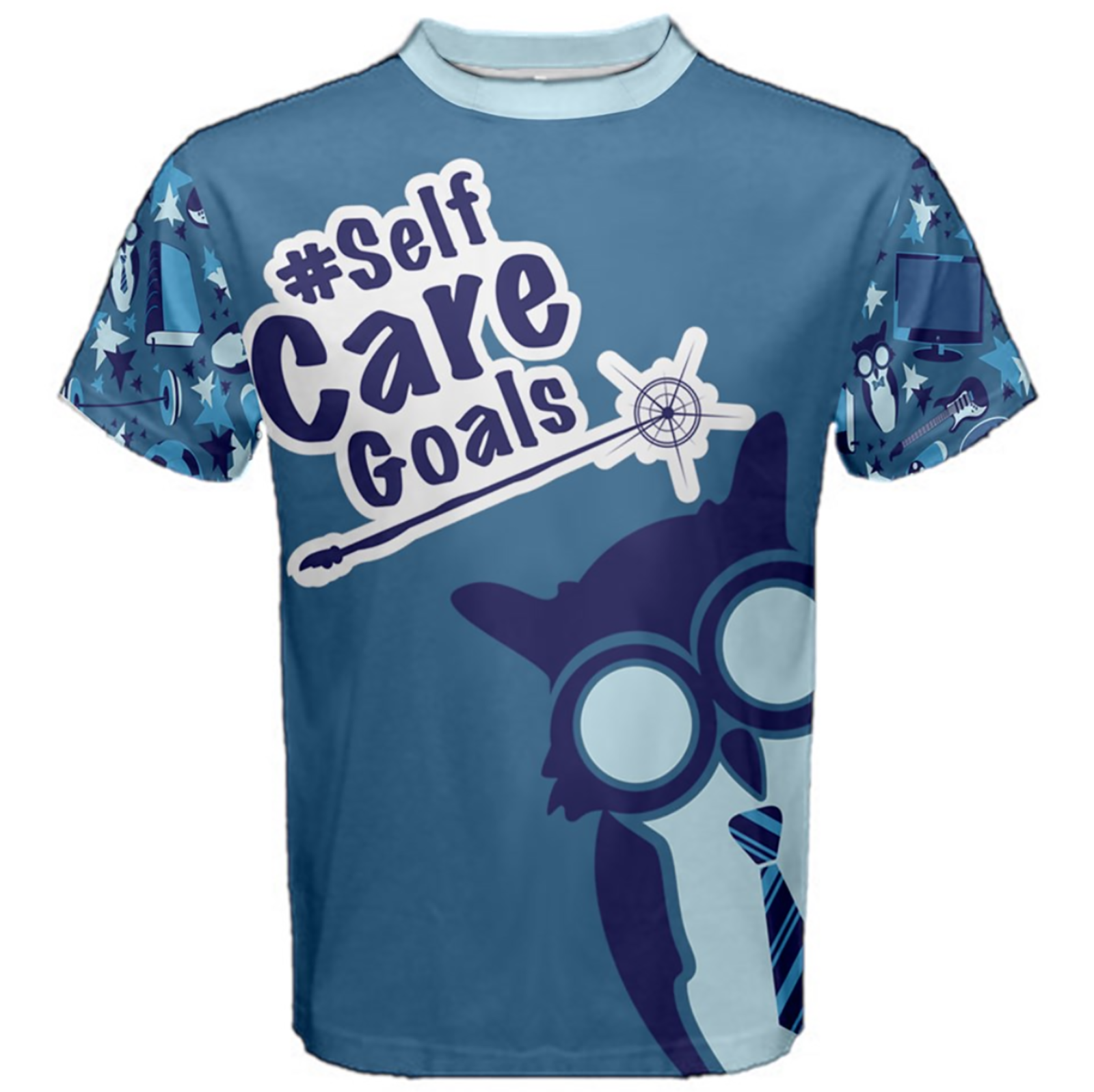 Self-Care Men's Cotton Tee (Blue Solid Background)