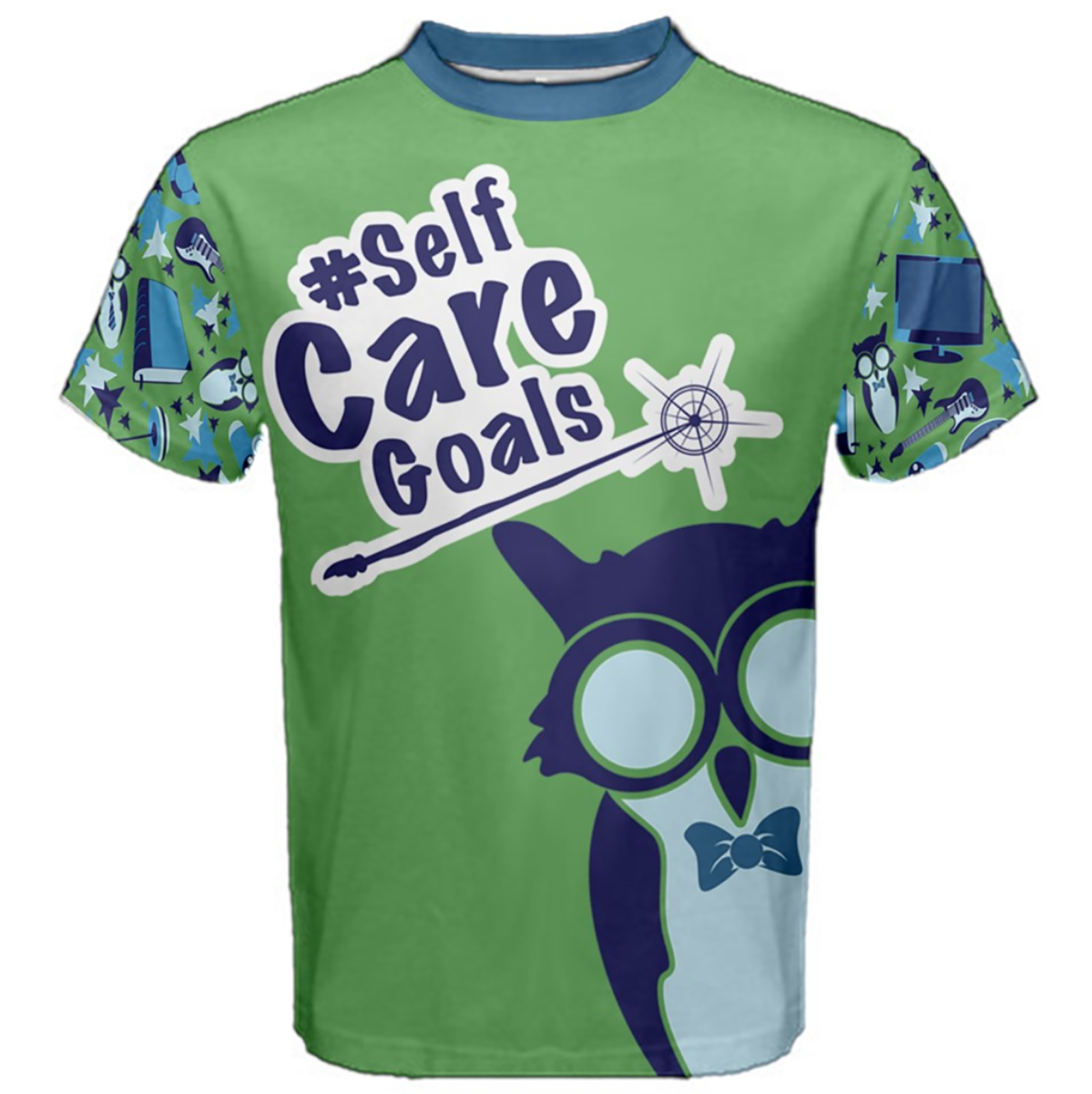 Self-Care Men's Cotton Tee (Green Solid Background)
