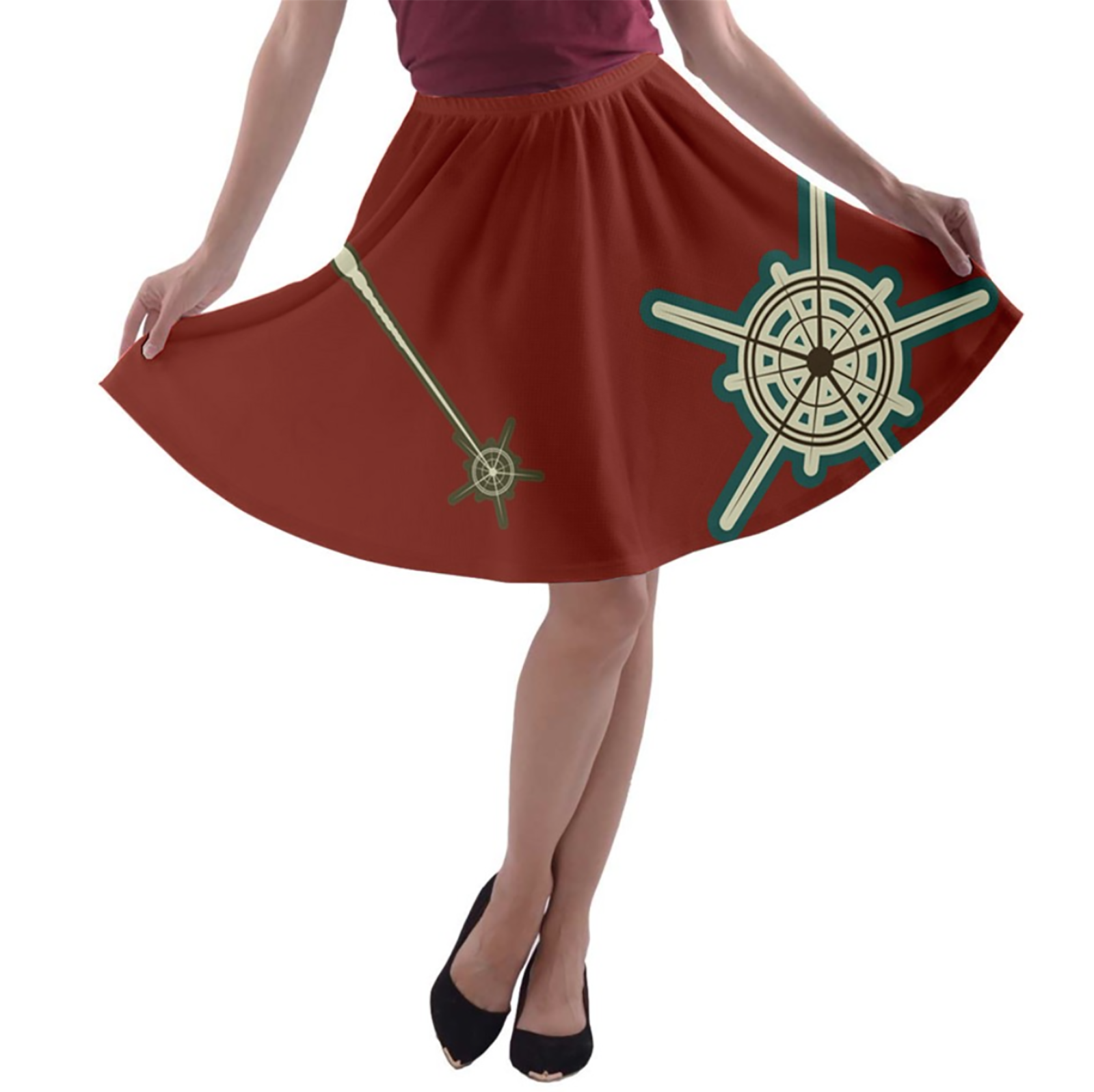 Vintage Owl Emoji A-line Skater Skirt (Solid Red Background)