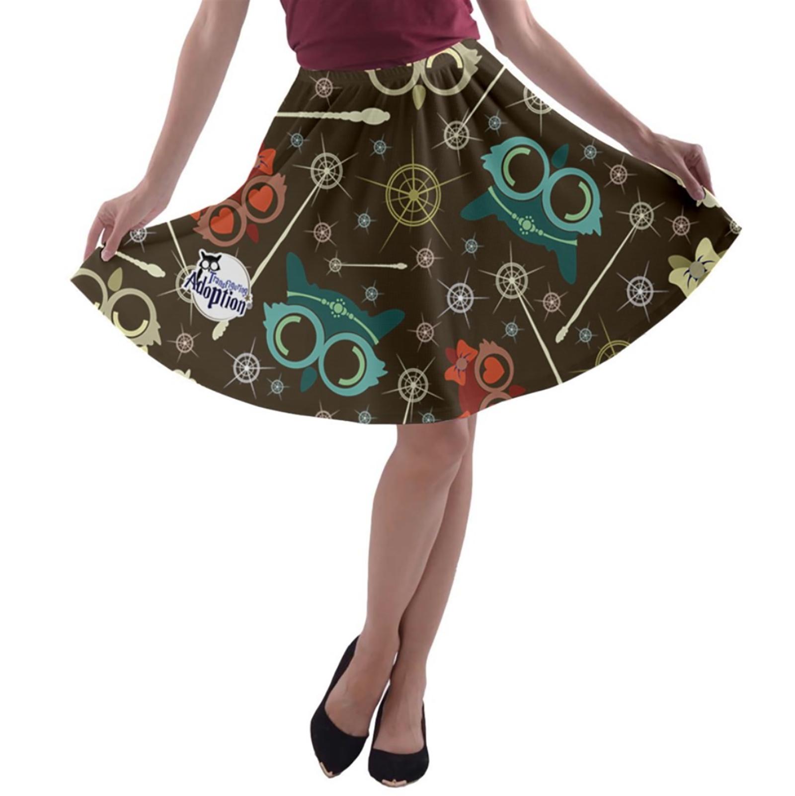 Vintage Owl Emoji A-line Skater Skirt (Patterned)