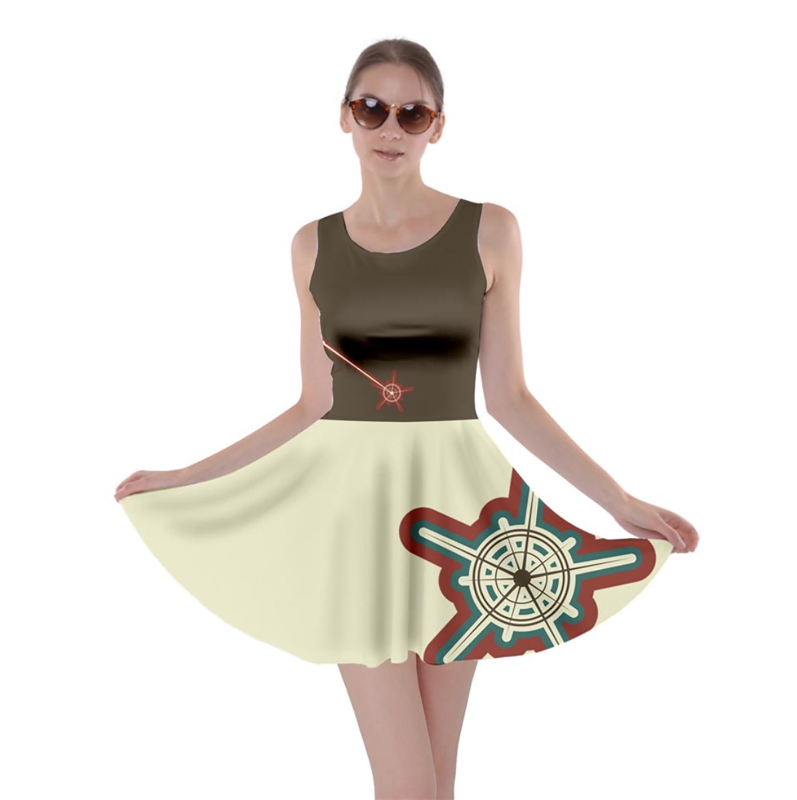 Vintage Emoji Owl Skater Dress (Dark Top w/Red Wand, Solid Bottom)