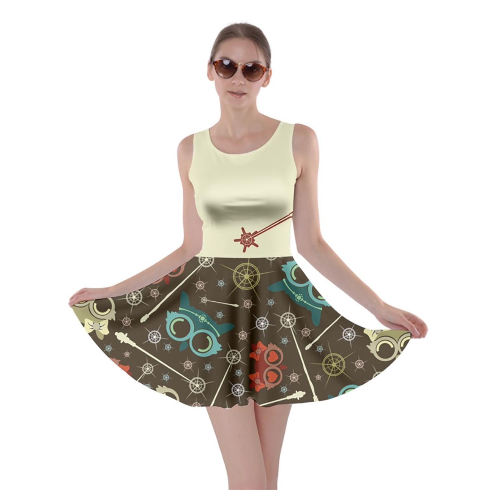 Vintage Emoji Owl Skater Dress (Light Top w/Red Wand, Patterned Bottom)