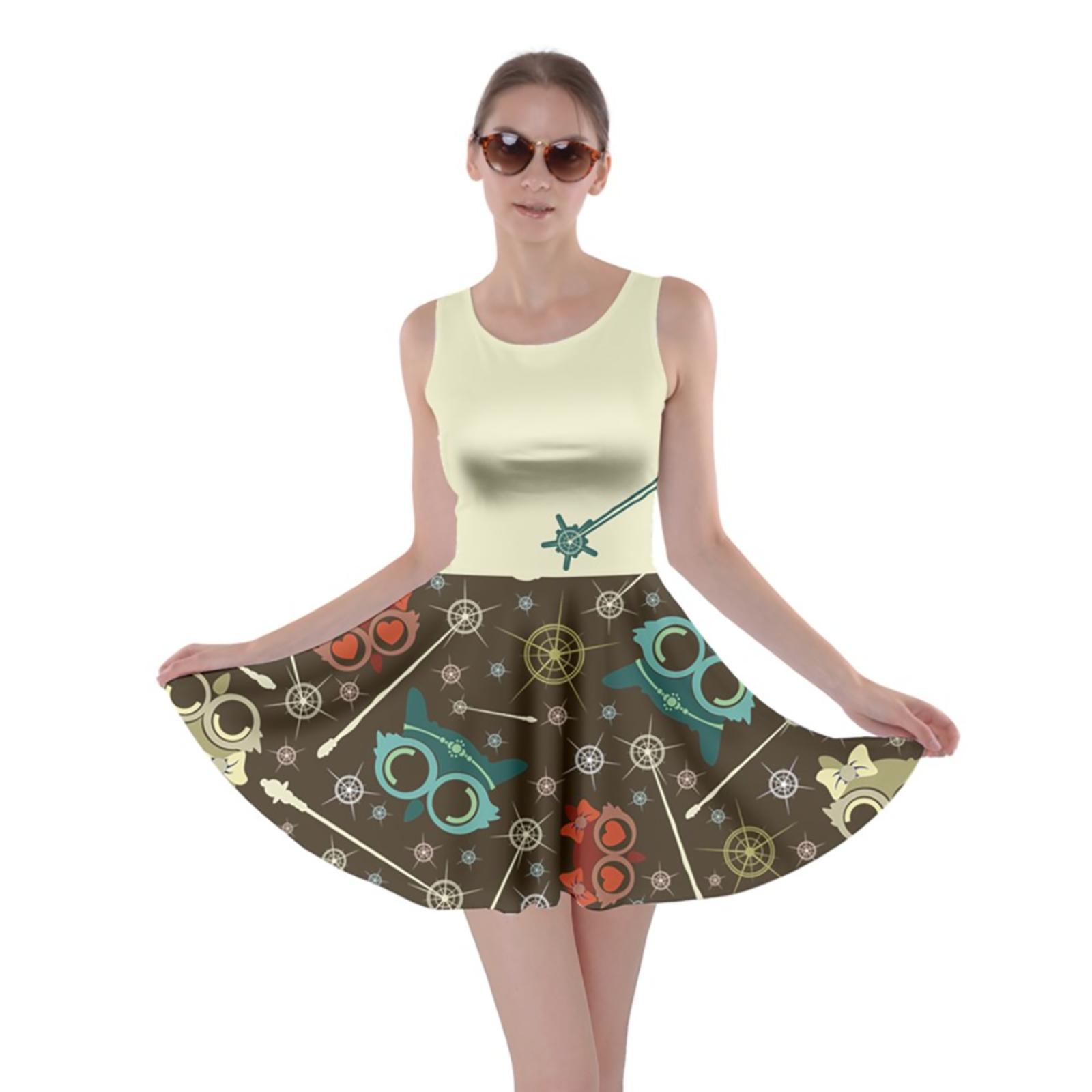 Vintage Emoji Owl Skater Dress (Light Top w/Blue Wand, Patterned Bottom)