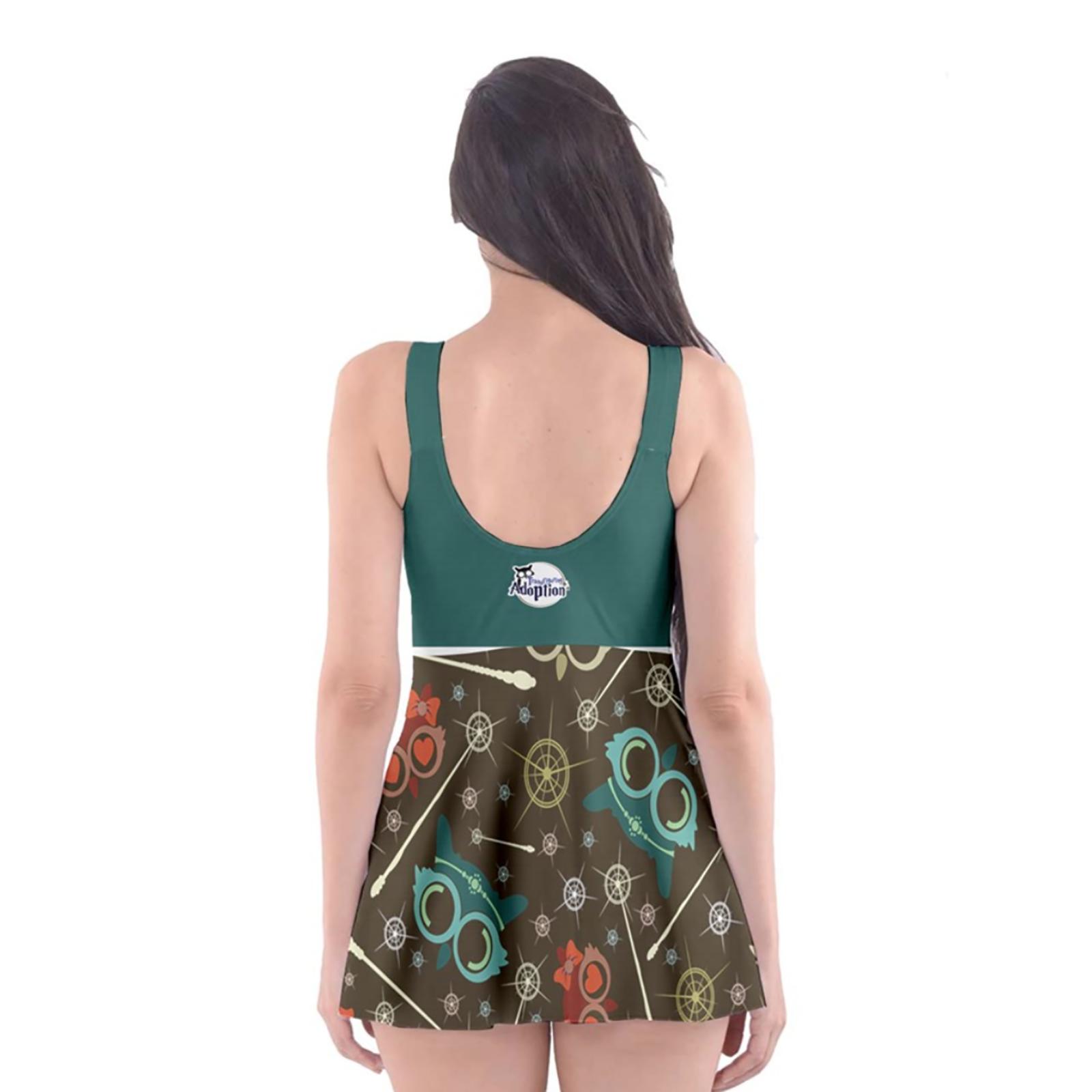 Vintage Emoji Owl Skater Dress Swimsuit (Blue top)