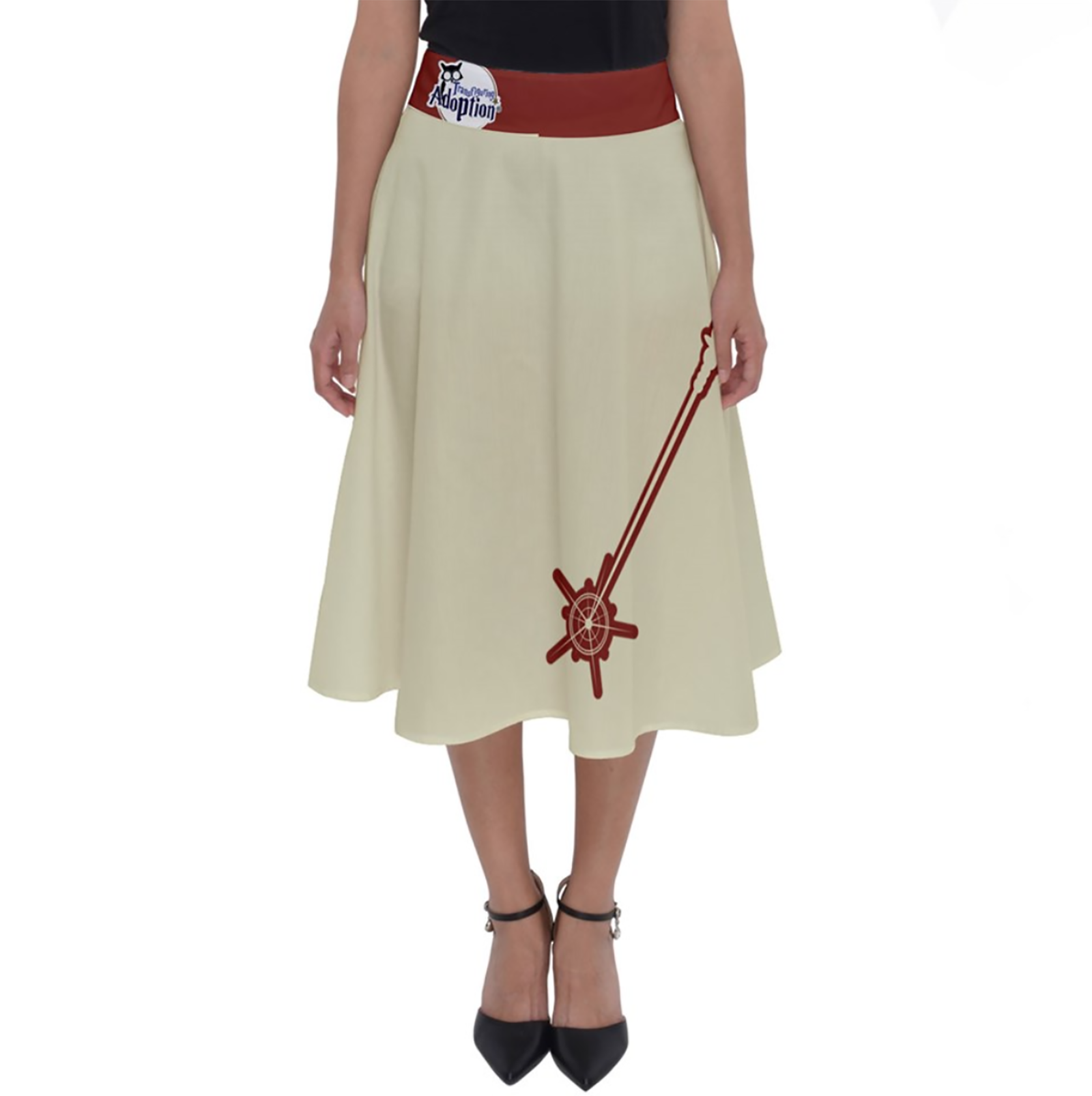 Vintage Emoji Owl Perfect Length Midi Skirt (Red Wand-Red Waist)