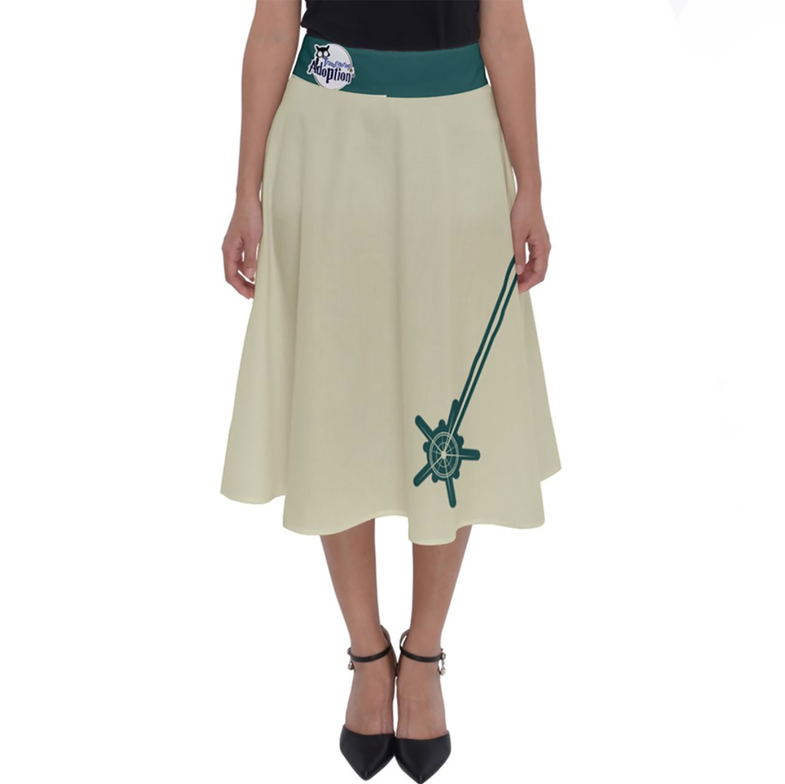 Vintage Emoji Owl Perfect Length Midi Skirt (Blue Wand-Blue Waist)