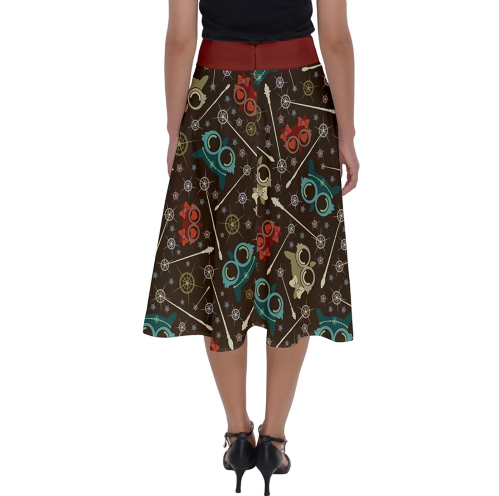 Vintage Emoji Owl Perfect Length Midi Skirt (Patterned - Red Waist)